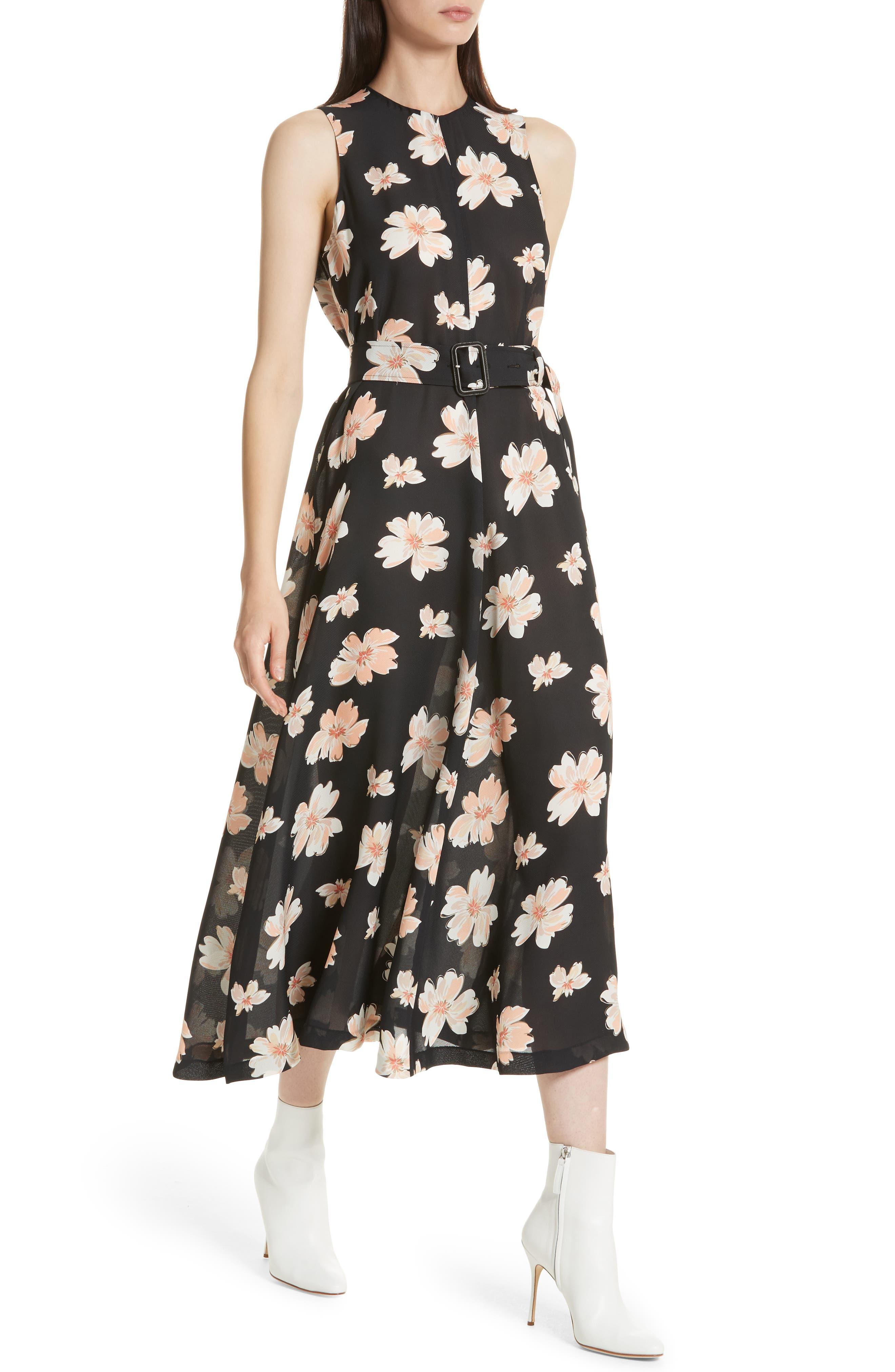 Arka Winterfloral Belted Midi Dress,                             Alternate thumbnail 4, color,                             Black Multi