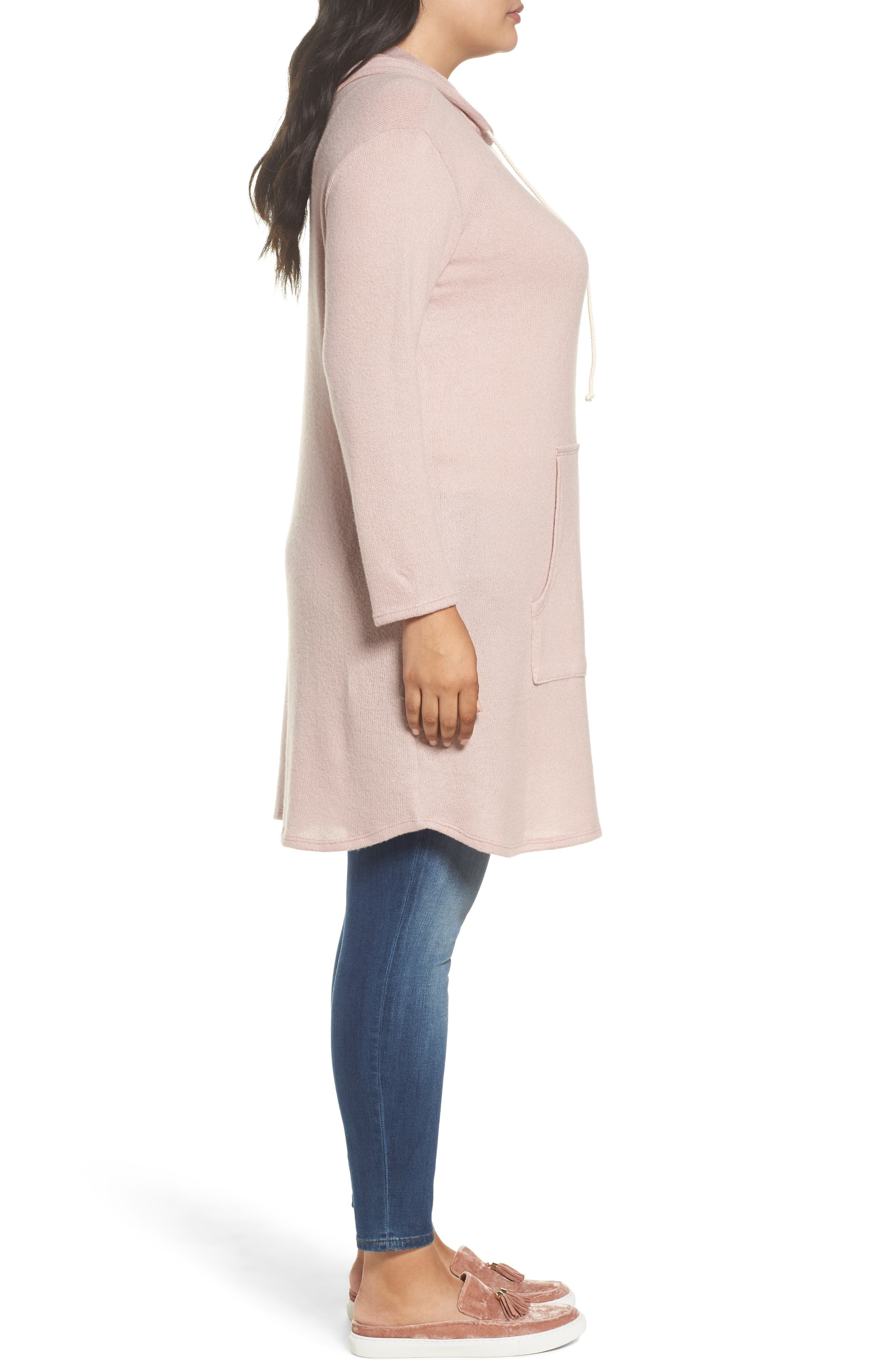 Alternate Image 3  - Caslon® Hooded Knit Tunic (Plus Size)