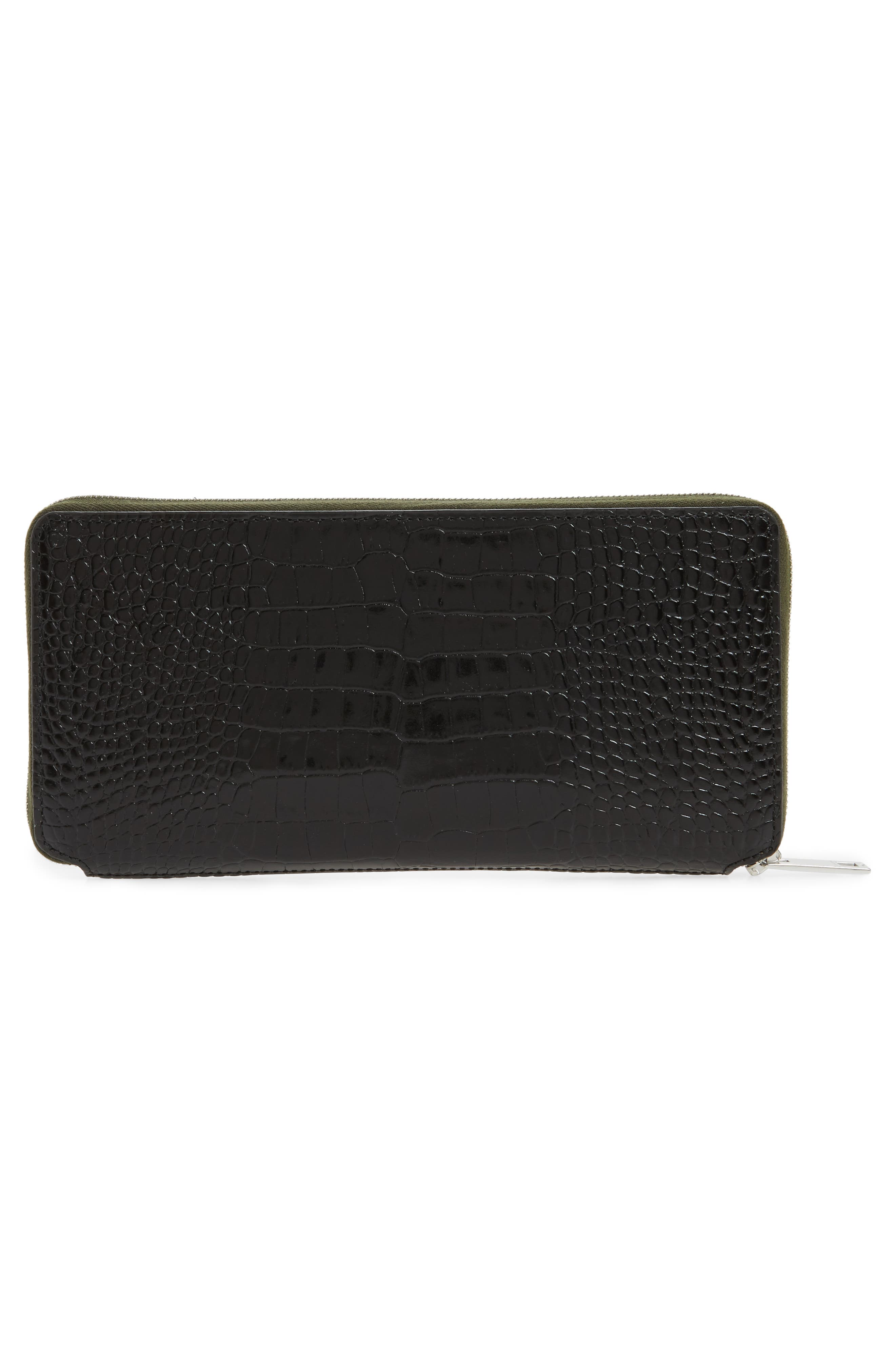 Croc Embossed Zip Around Leather Wallet,                             Alternate thumbnail 4, color,                             Black Croco