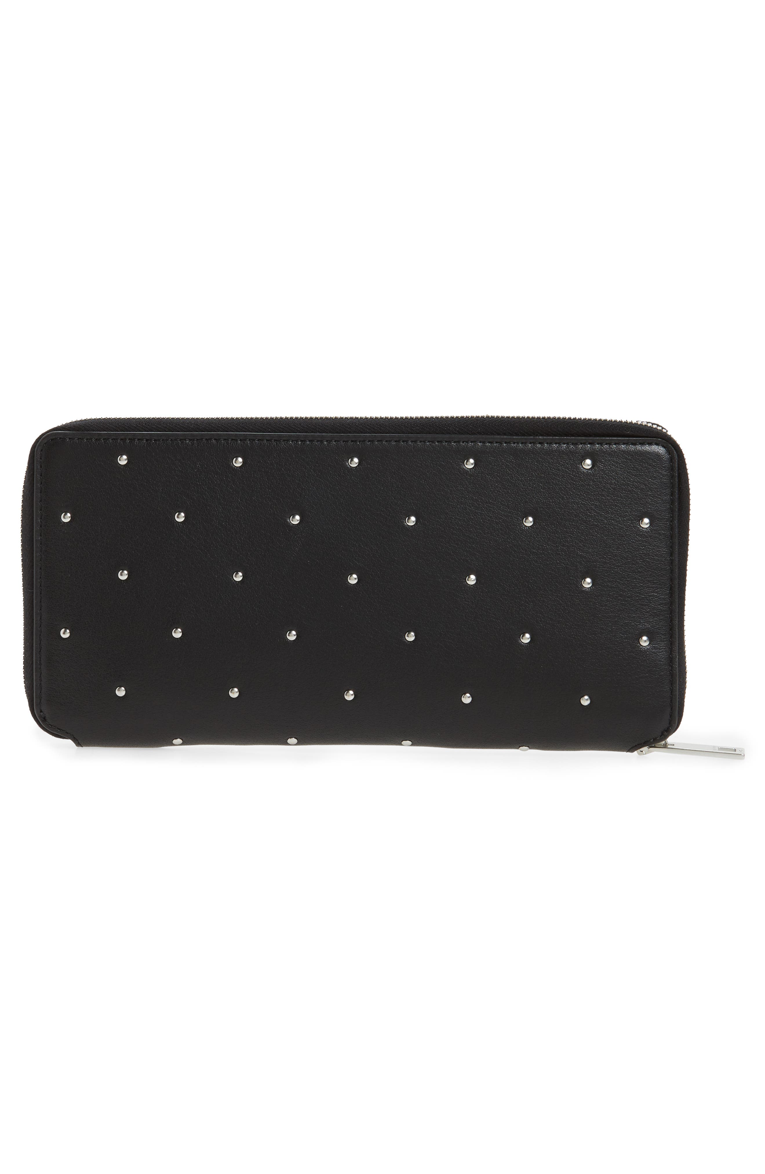 Studded Calfskin Leather Zip-Around Wallet,                             Alternate thumbnail 3, color,                             Black Studs