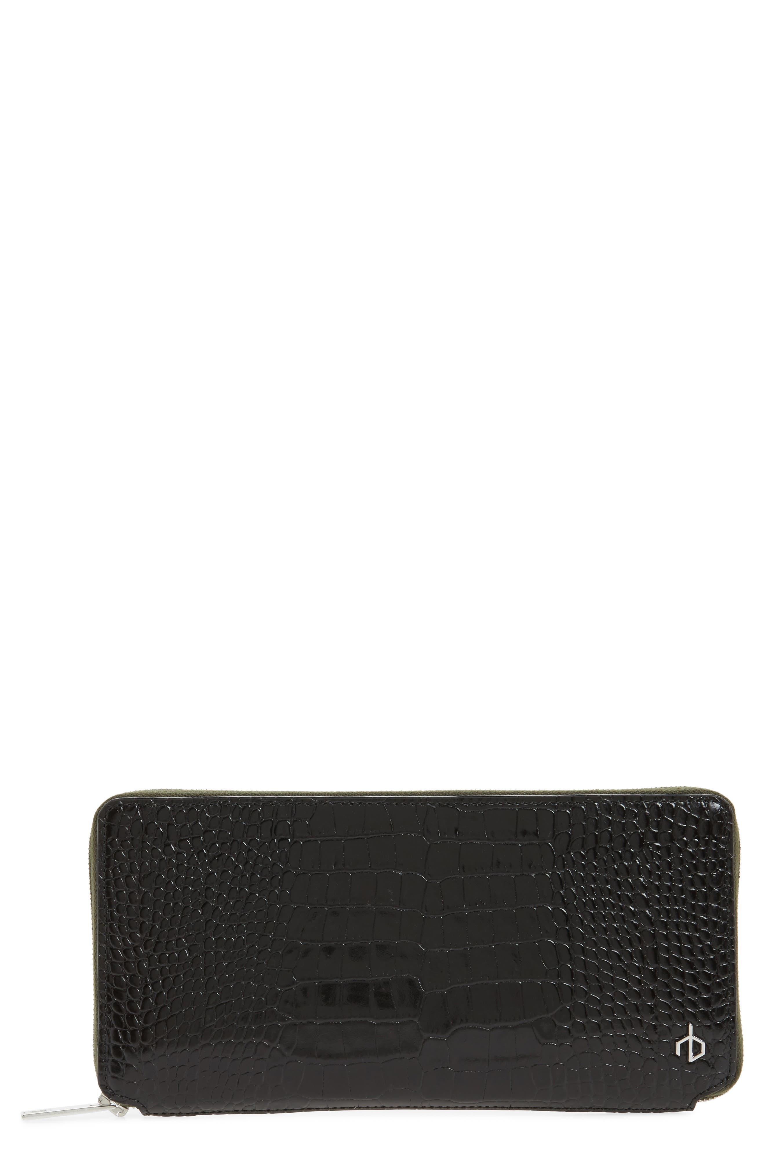 Croc Embossed Zip Around Leather Wallet,                             Main thumbnail 1, color,                             Black Croco