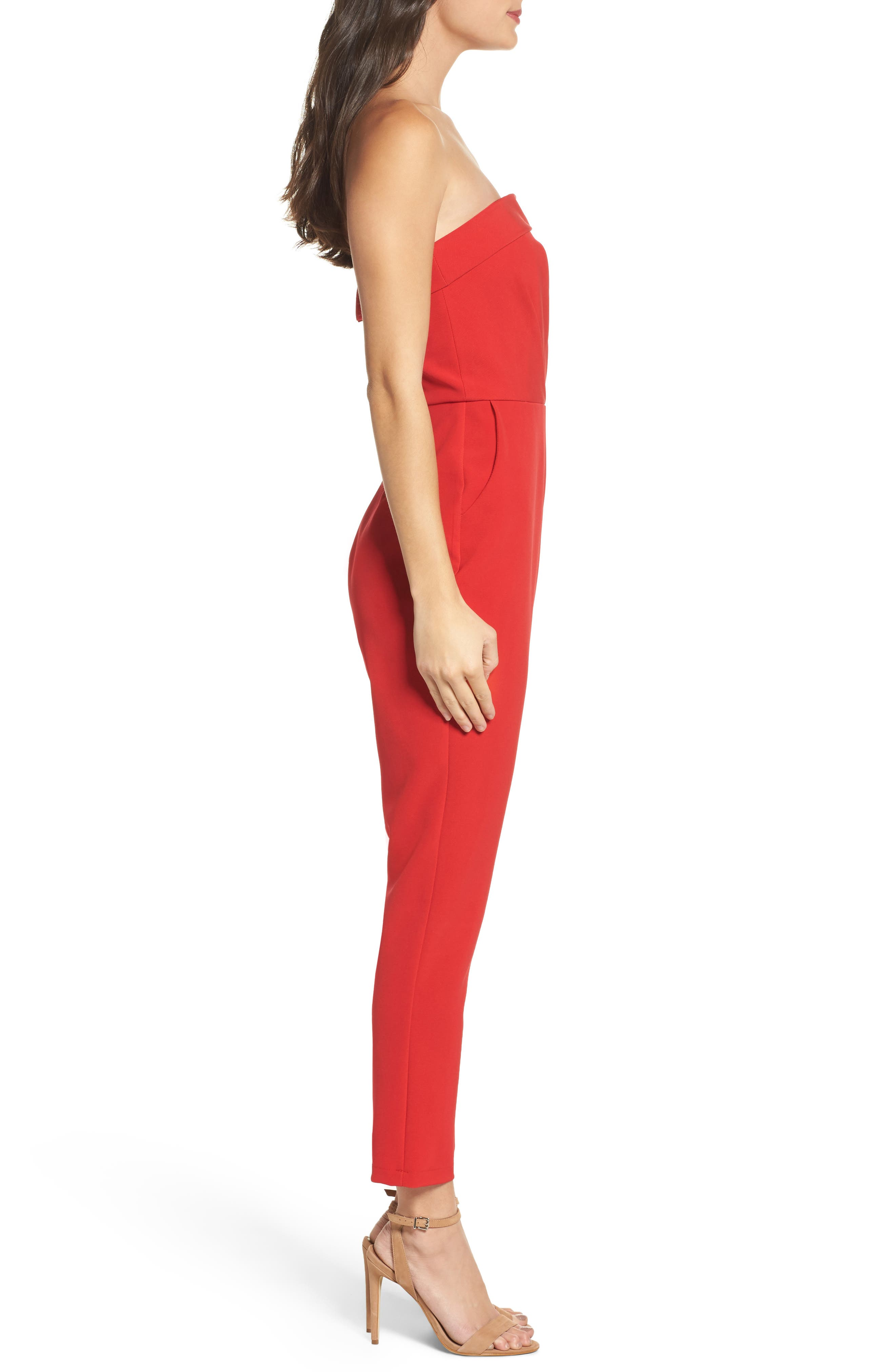 Malia Strapless Jumpsuit,                             Alternate thumbnail 3, color,                             Red