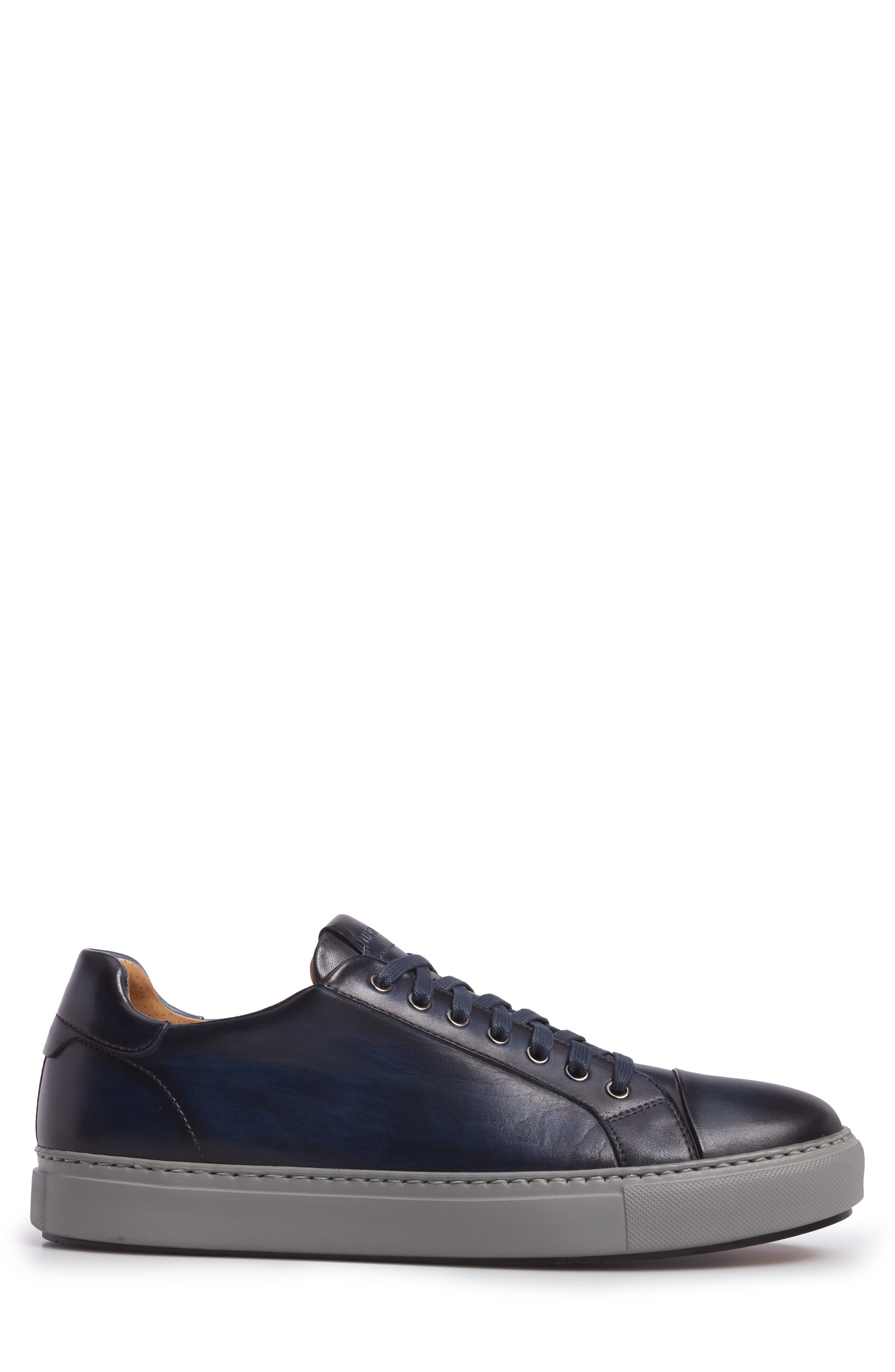 Kaden Lo Sneaker,                             Alternate thumbnail 3, color,                             Brushed Navy Leather