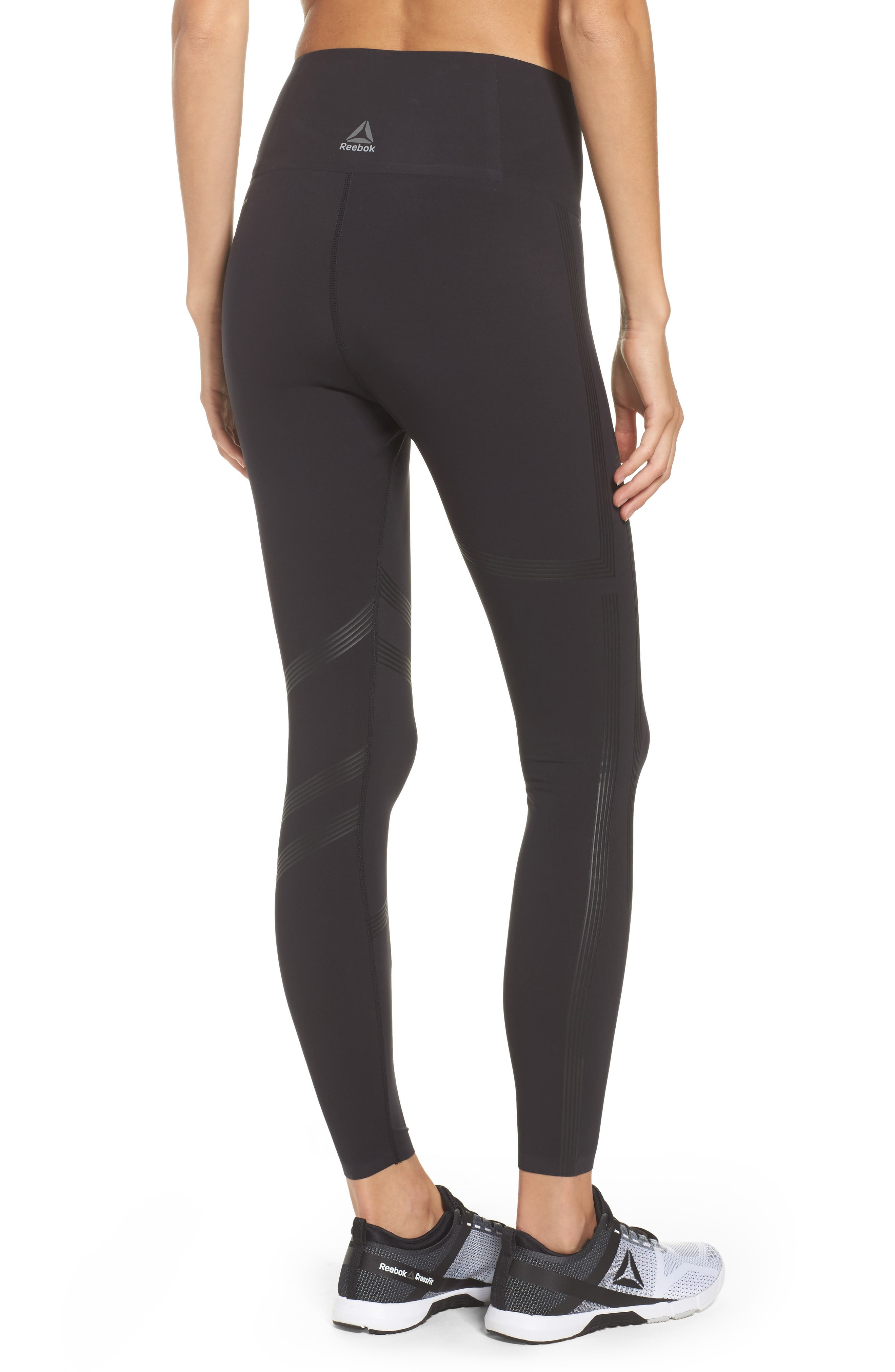 Linear High Rise Performance Tights,                             Alternate thumbnail 2, color,                             Black