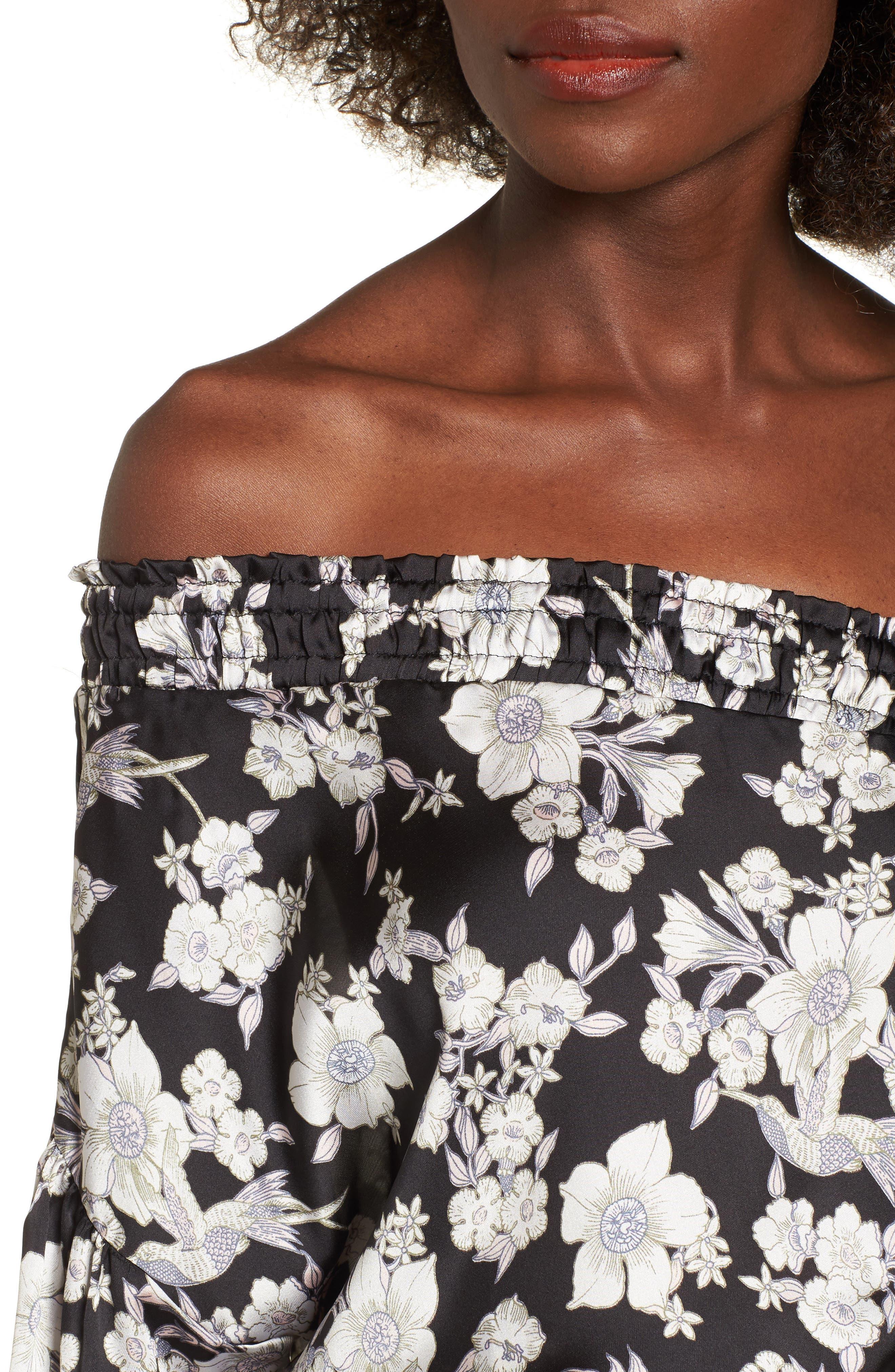 Birdee One Shoulder Crop Top,                             Alternate thumbnail 4, color,                             Black Floral