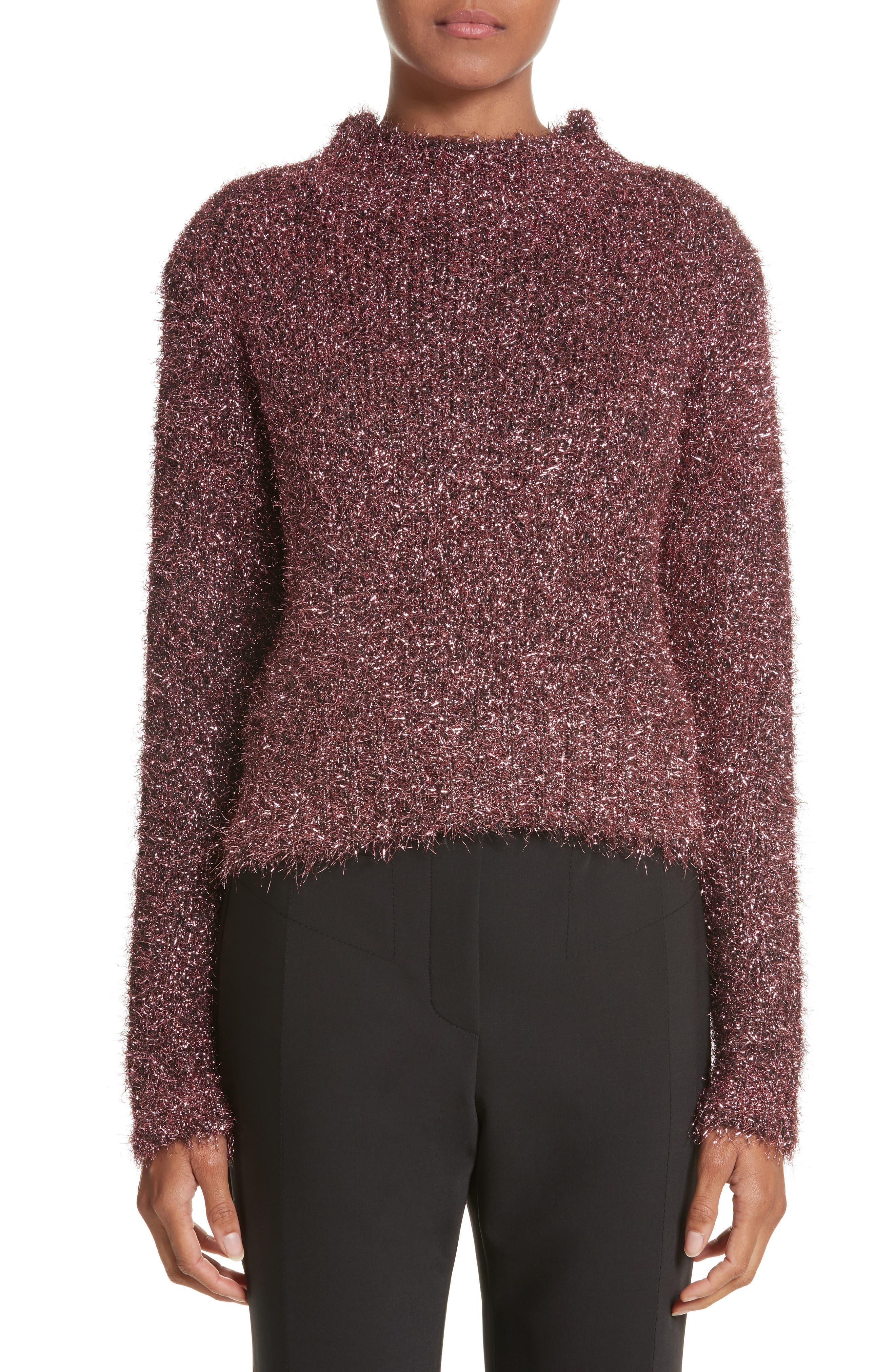 Vaporize Textured Metallic Sweater,                             Main thumbnail 1, color,                             Pink