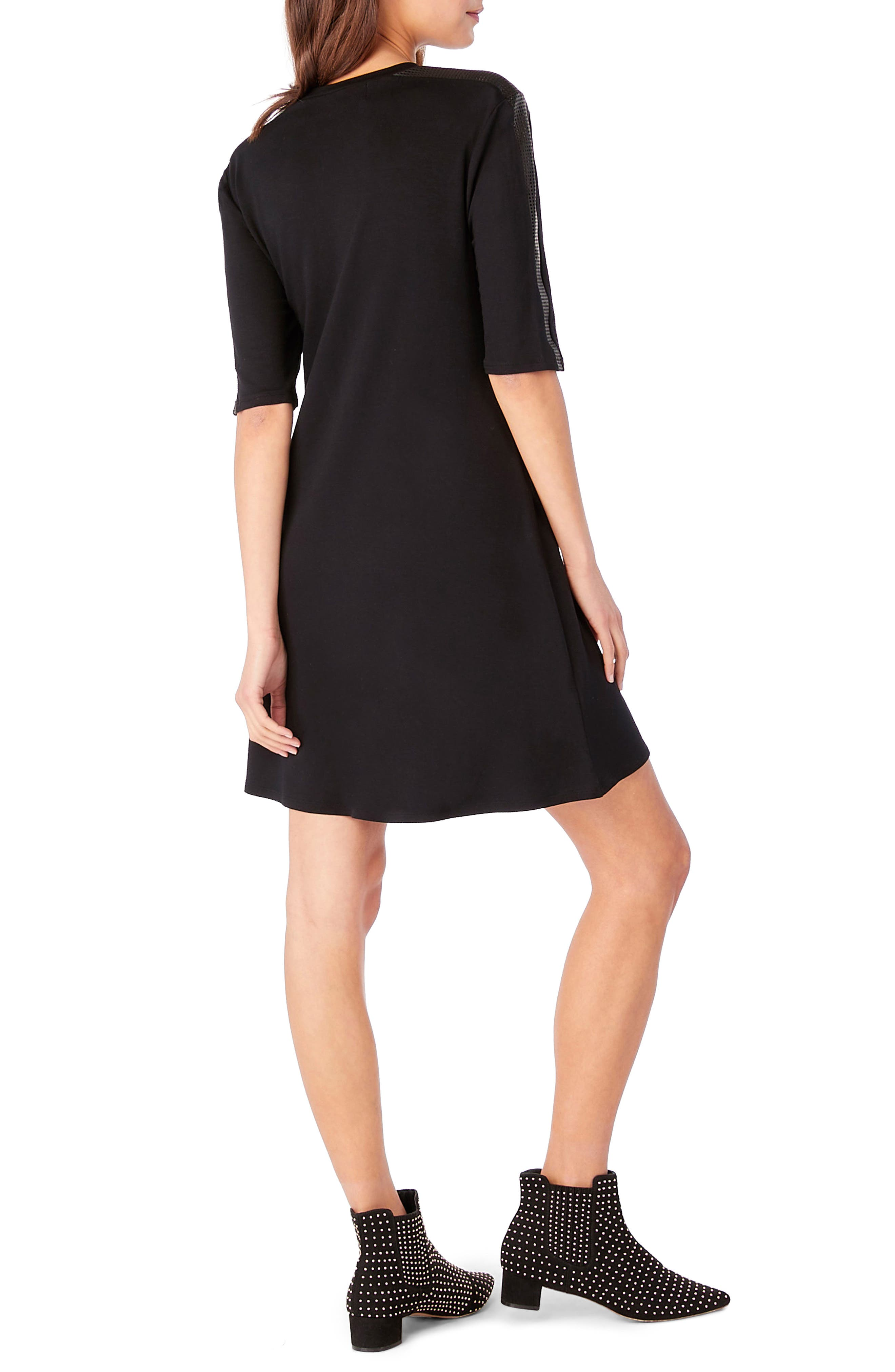 Elbow Sleeve Leather Trim Shift Dress,                             Alternate thumbnail 2, color,                             Black