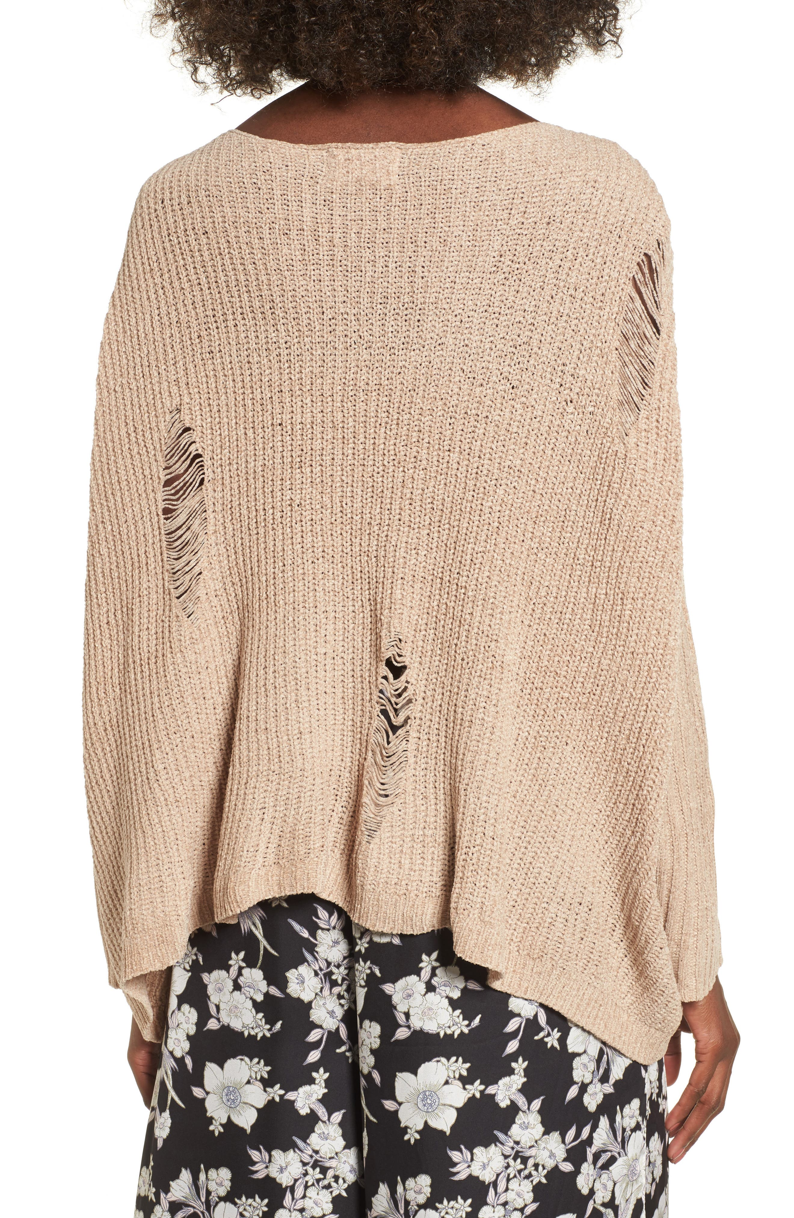 Lily Rose Distressed Sweater,                             Alternate thumbnail 2, color,                             Stone
