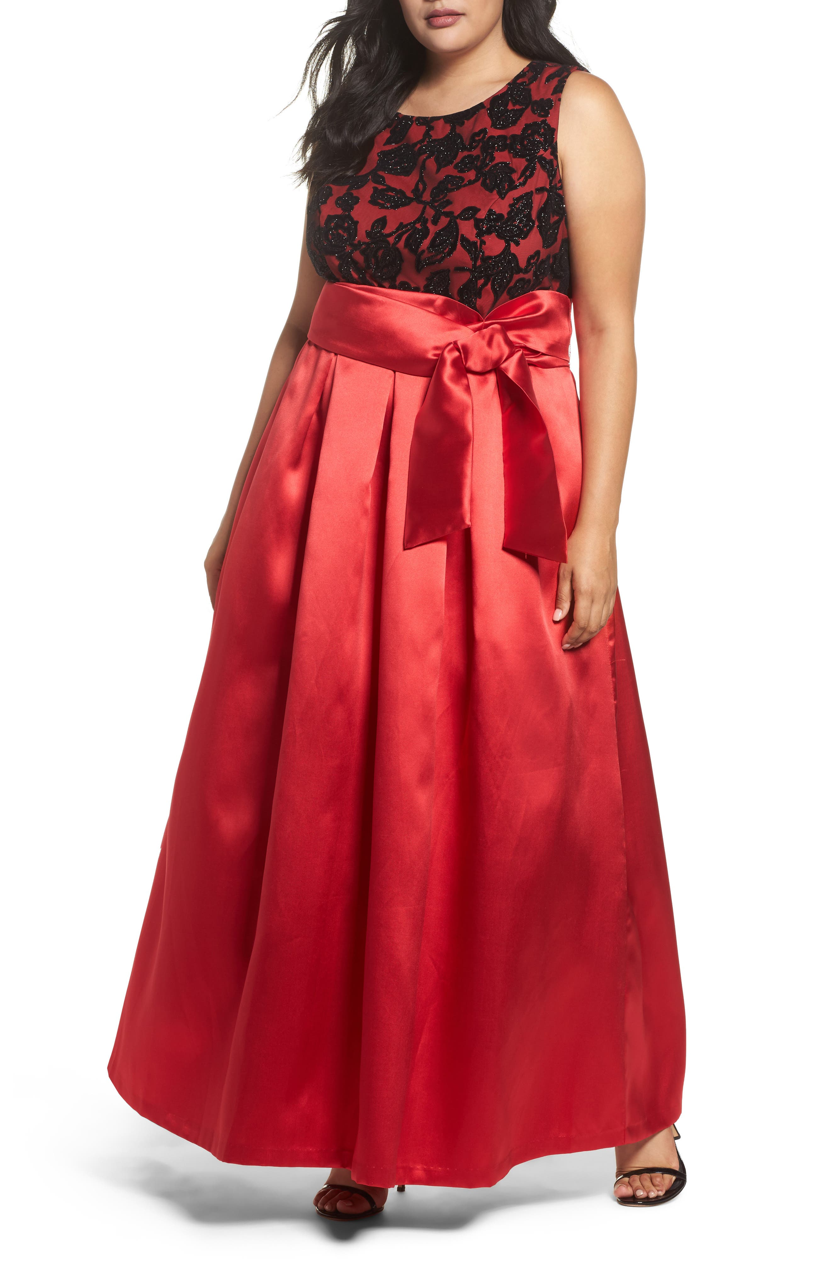 Sleeveless Lace & Satin Ballgown,                         Main,                         color, Red