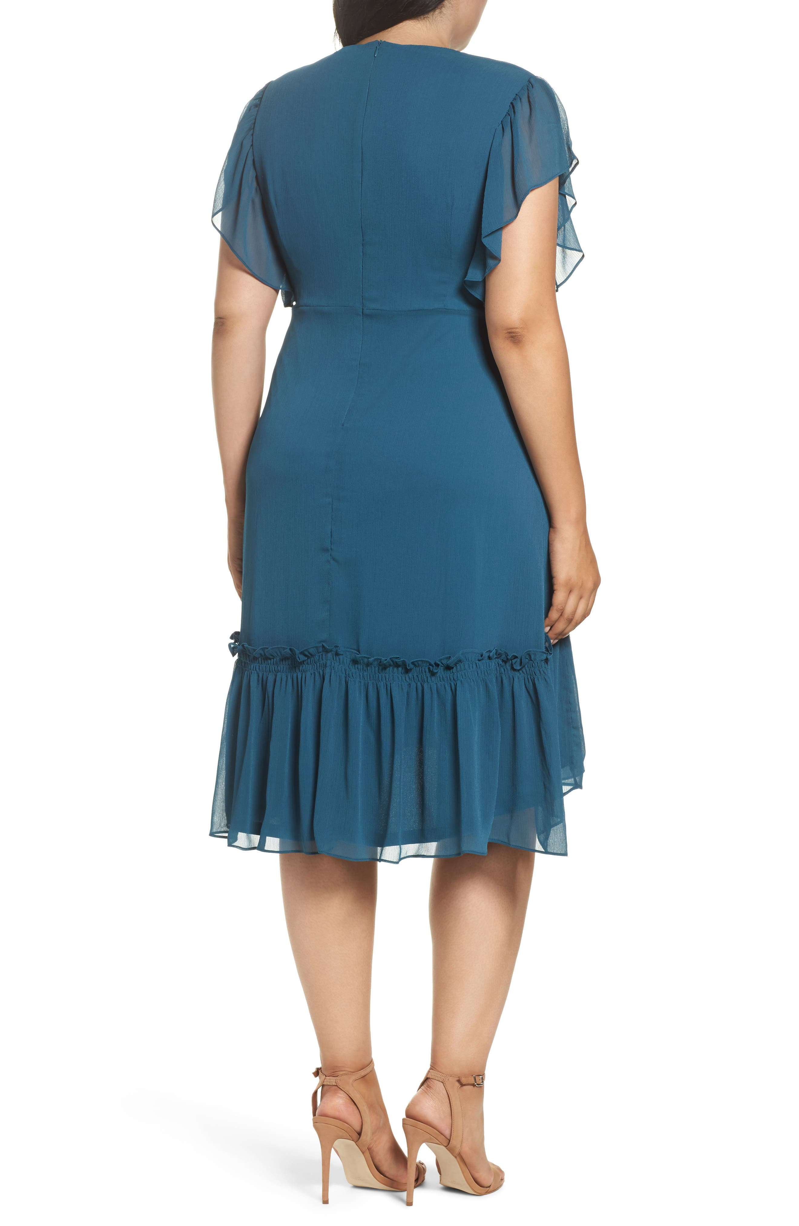 Ruffled High/Low A-Line Dress,                             Alternate thumbnail 3, color,                             Green