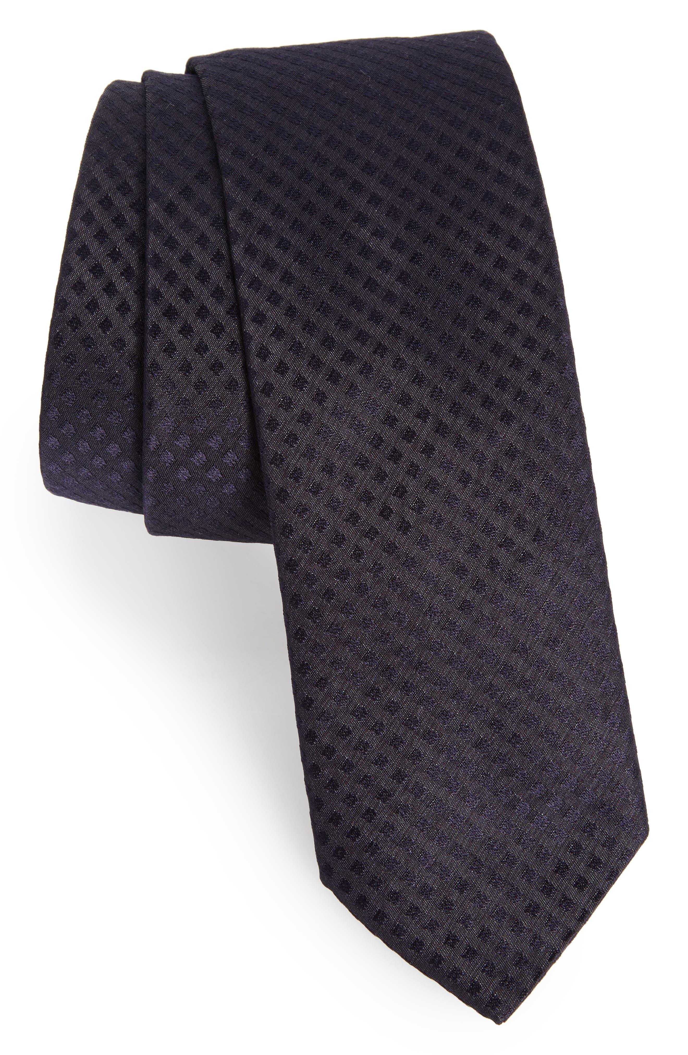 Dot Skinny Silk Tie,                             Main thumbnail 1, color,                             Navy