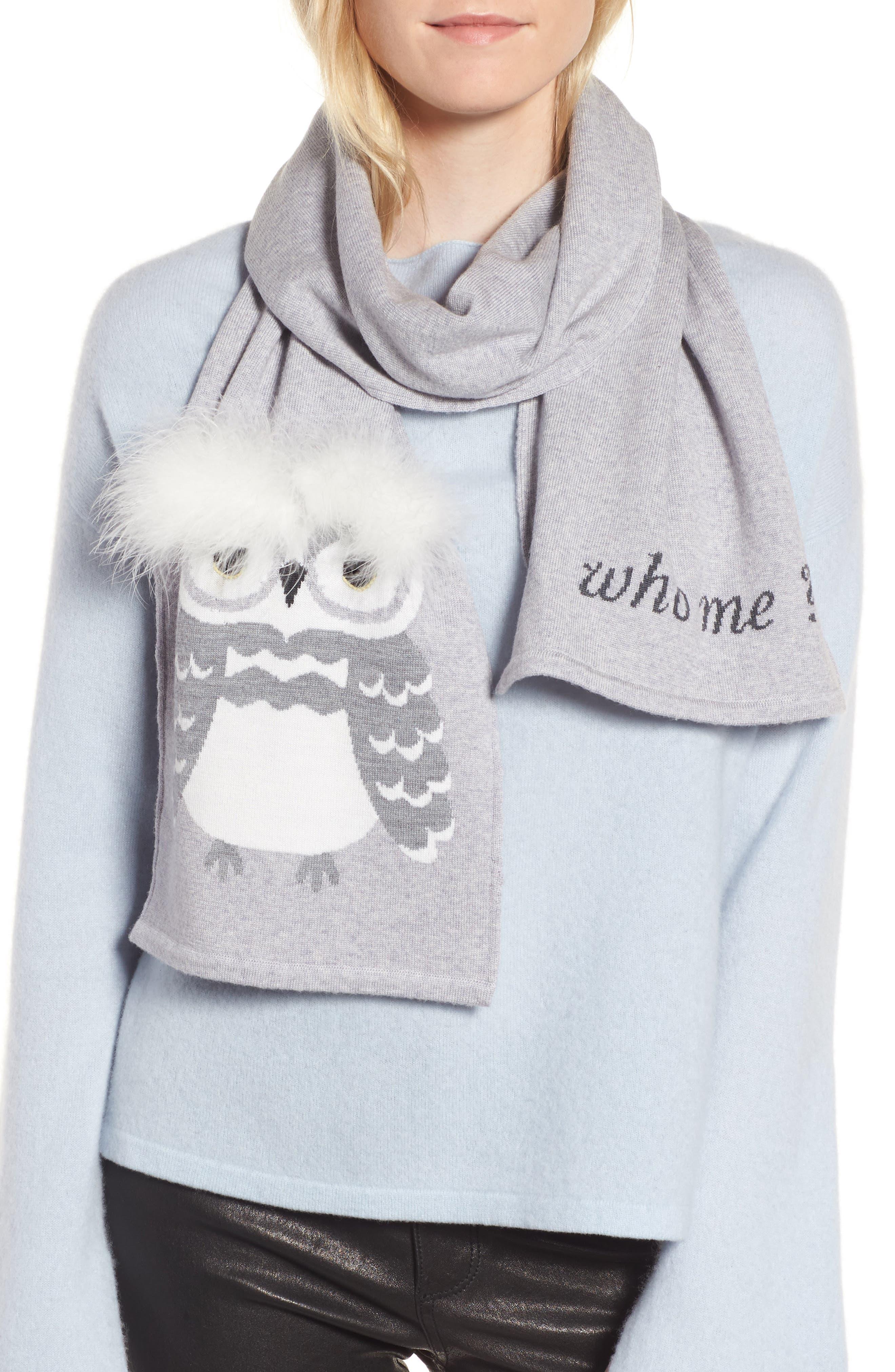kate spade new york who me owl merino wool muffler