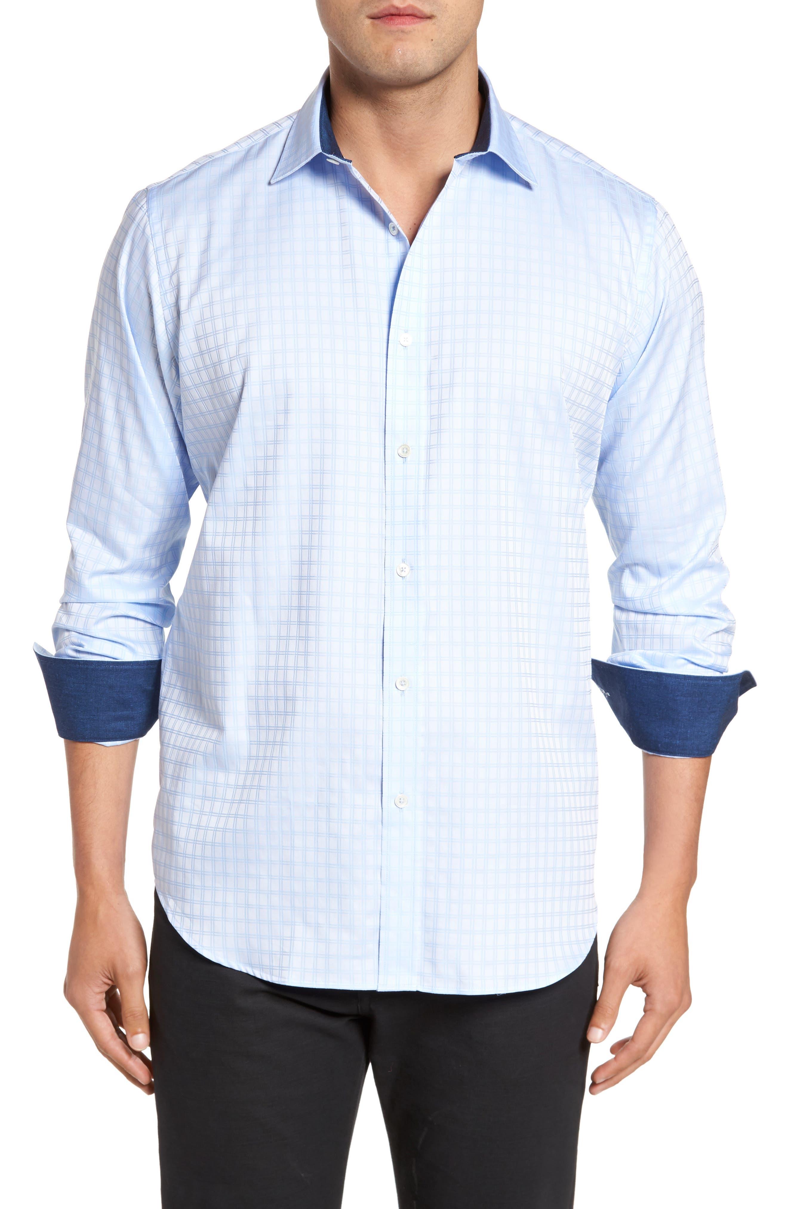Classic Fit Check Jacquard Sport Shirt,                         Main,                         color, Sky