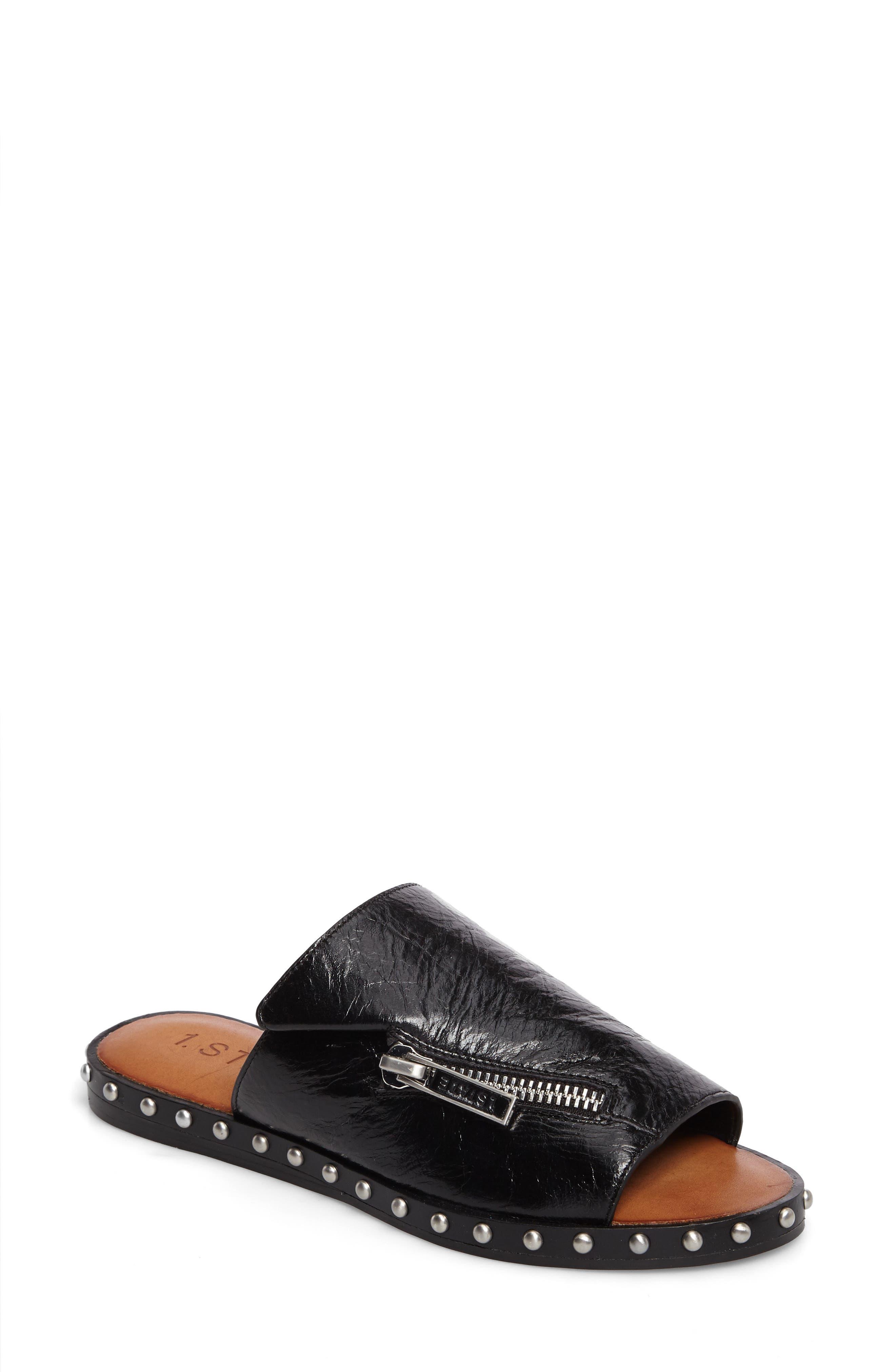 Cadwyn Slide Sandal,                             Main thumbnail 1, color,                             Black Leather