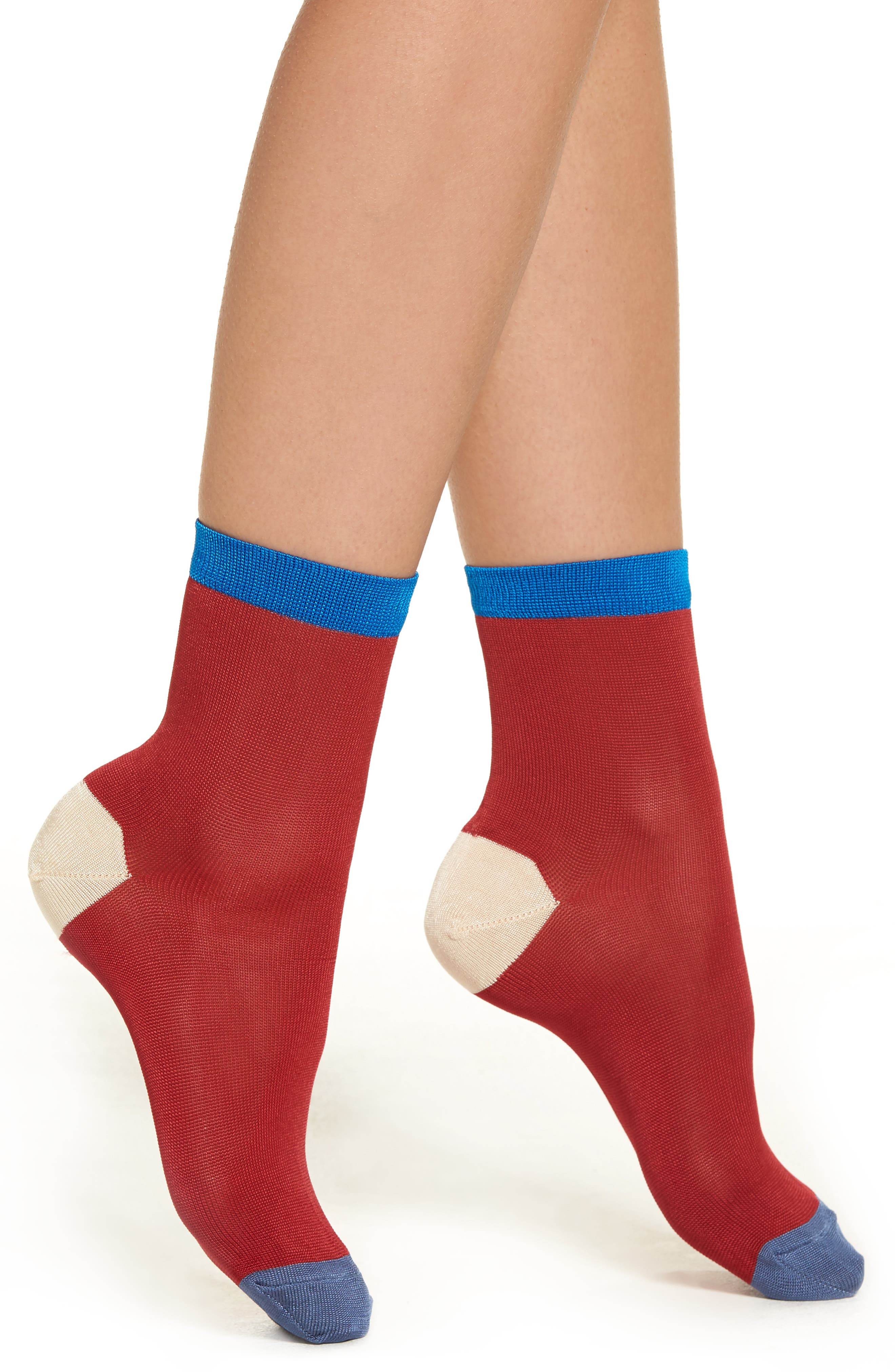Grace Colorblock Ankle Socks,                         Main,                         color, Red