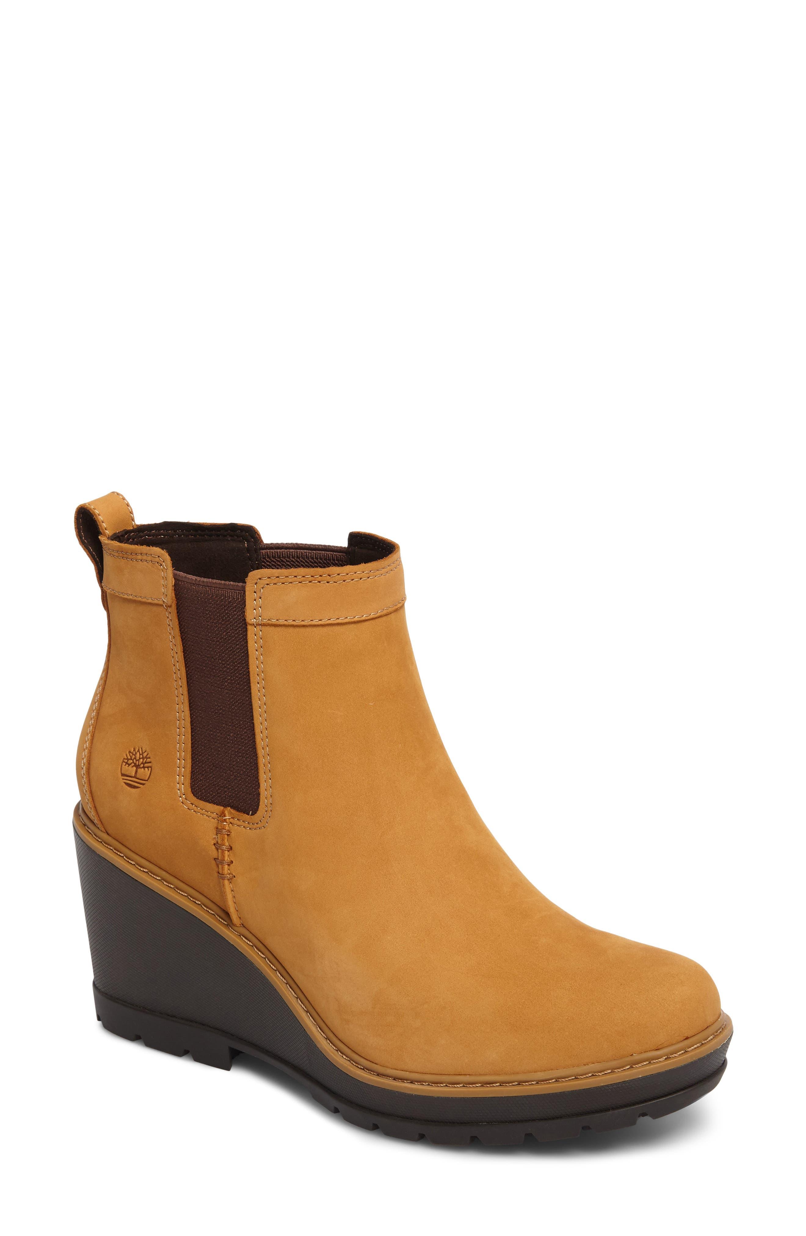 Kellis Water Resistant Chelsea Wedge Boot,                         Main,                         color, Wheat Nubuck