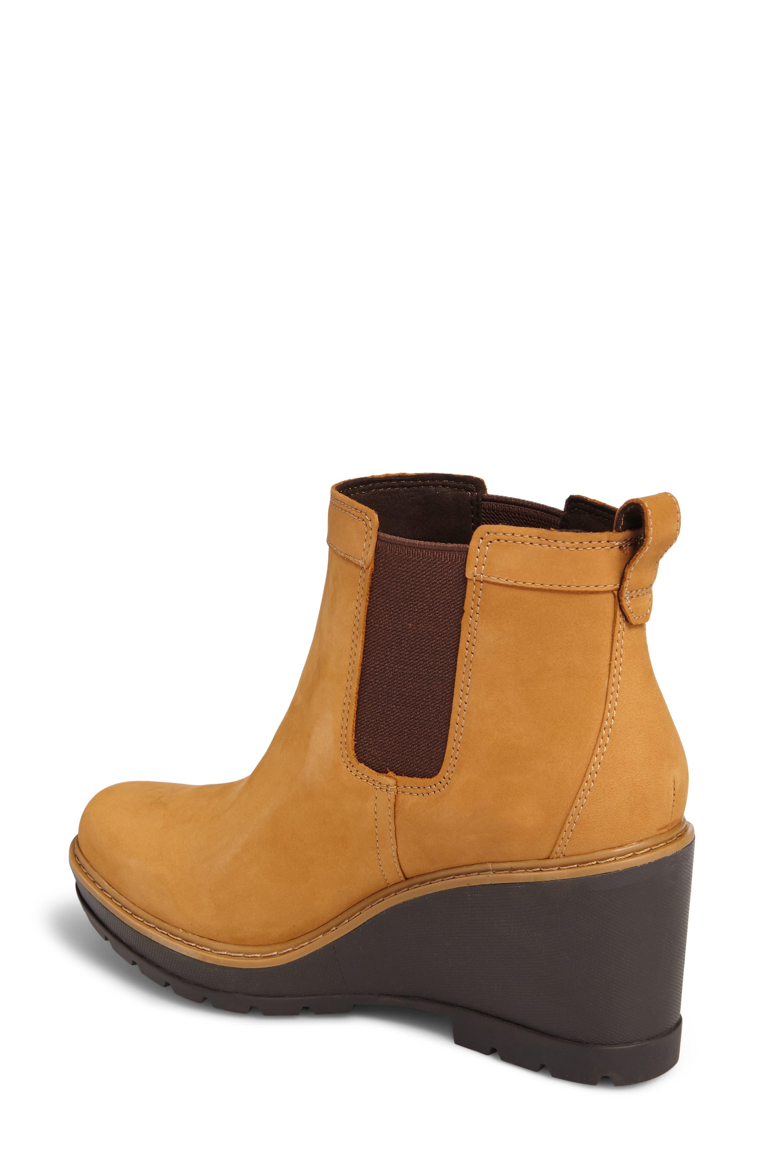 Kellis Water Resistant Chelsea Wedge Boot,                             Alternate thumbnail 2, color,                             Wheat Nubuck
