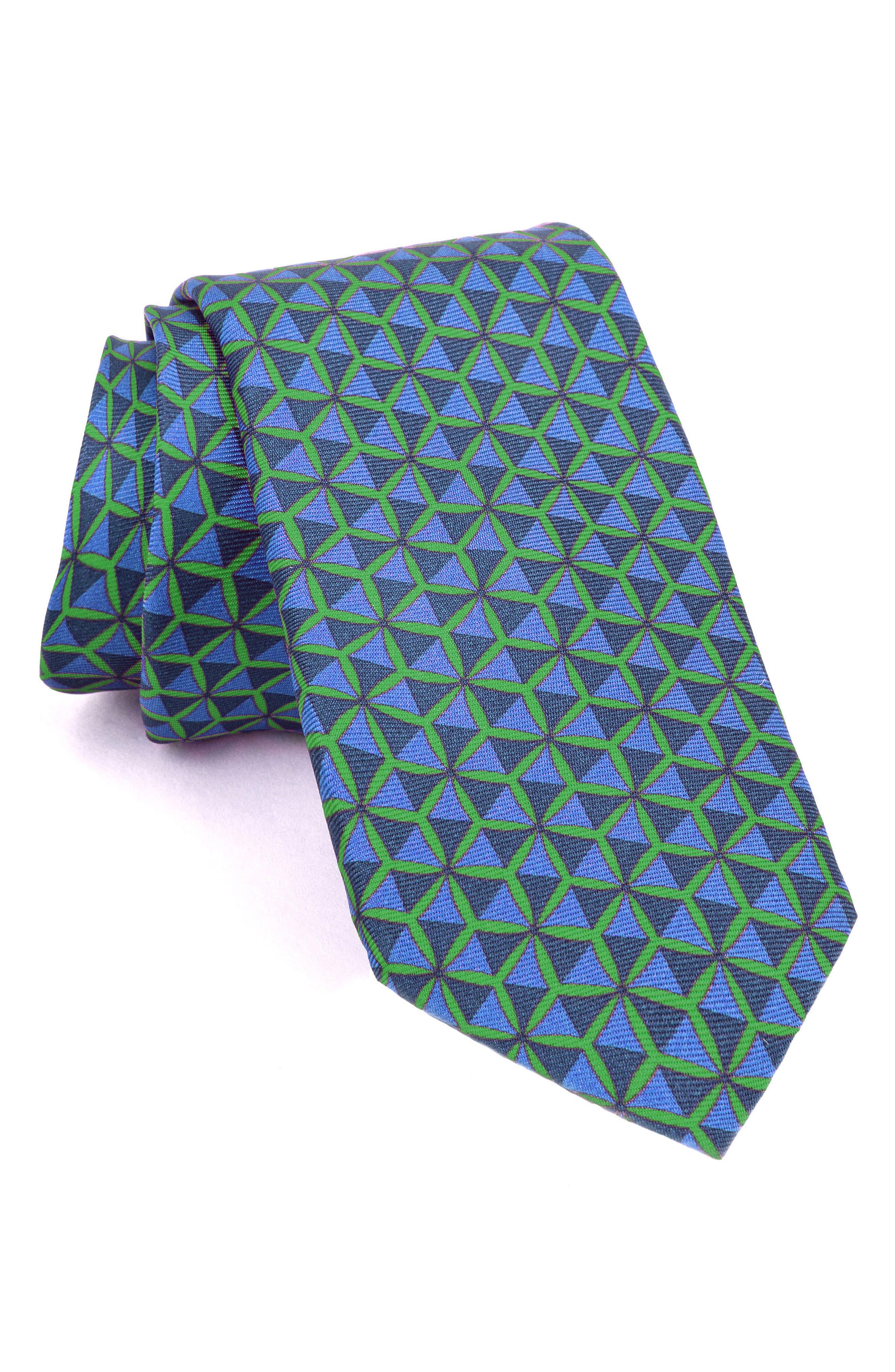 Geo Triangle Print Silk Tie,                             Main thumbnail 1, color,                             Green