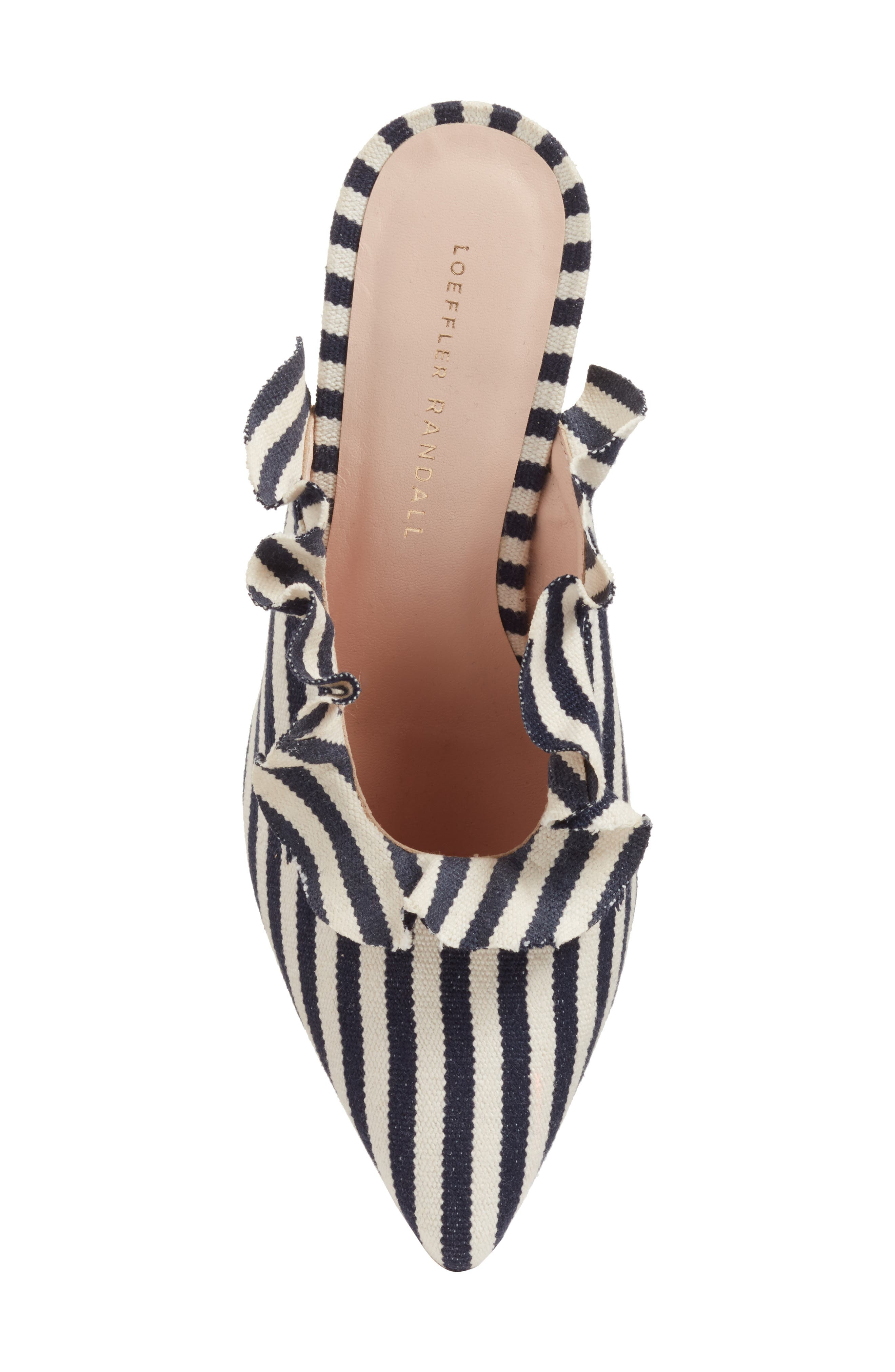 Langley Ruffle Pointy Toe Mule,                             Alternate thumbnail 5, color,                             White/ Eclipse