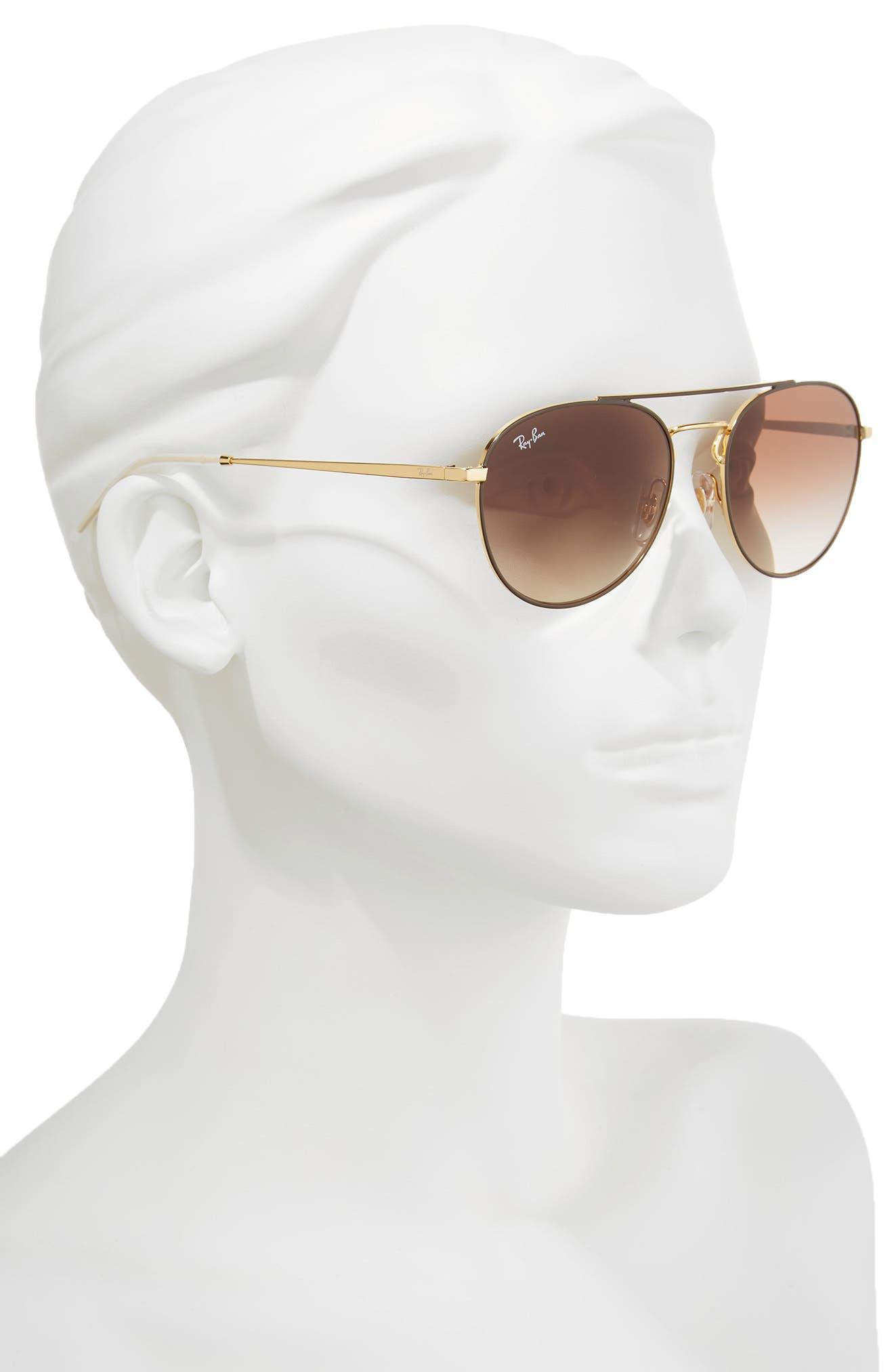 55mm Gradient Lens Round Aviator Sunglasses,                             Alternate thumbnail 2, color,                             Gold Brown