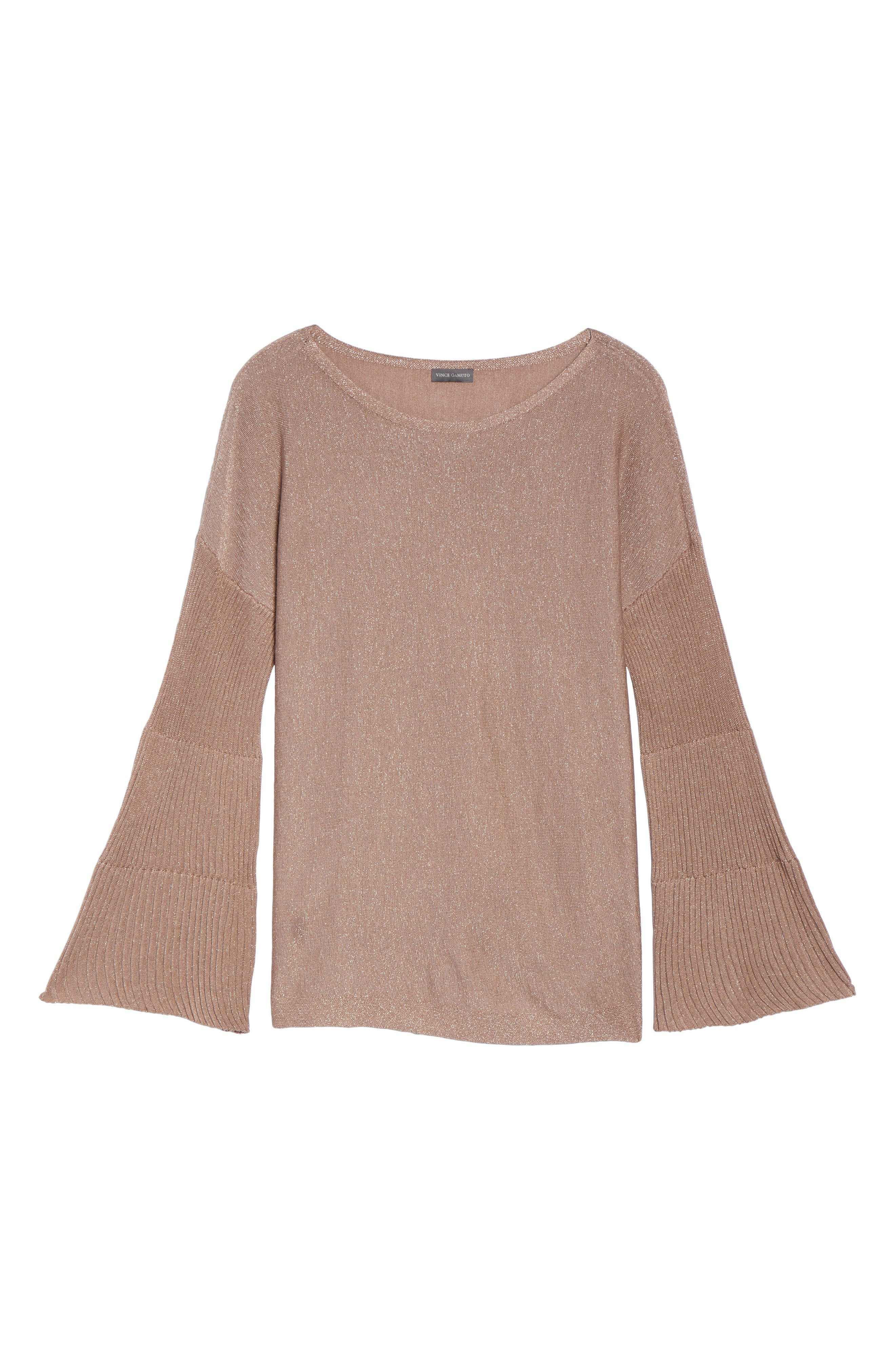 Sparkly Bell Sleeve Sweater,                             Alternate thumbnail 6, color,                             Rose Taupe