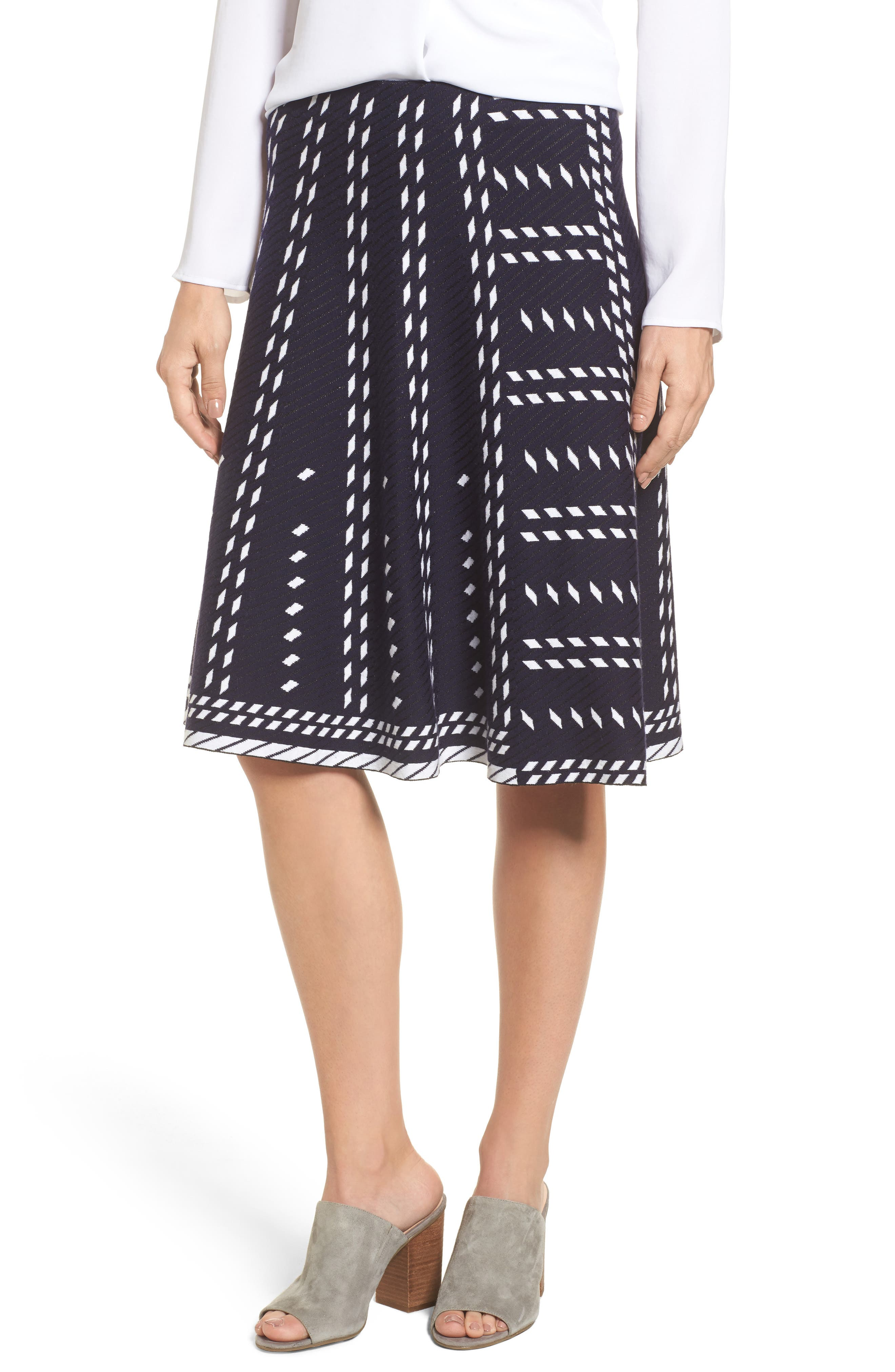 Falling Star A-Line Knit Skirt,                         Main,                         color, Blue Multi