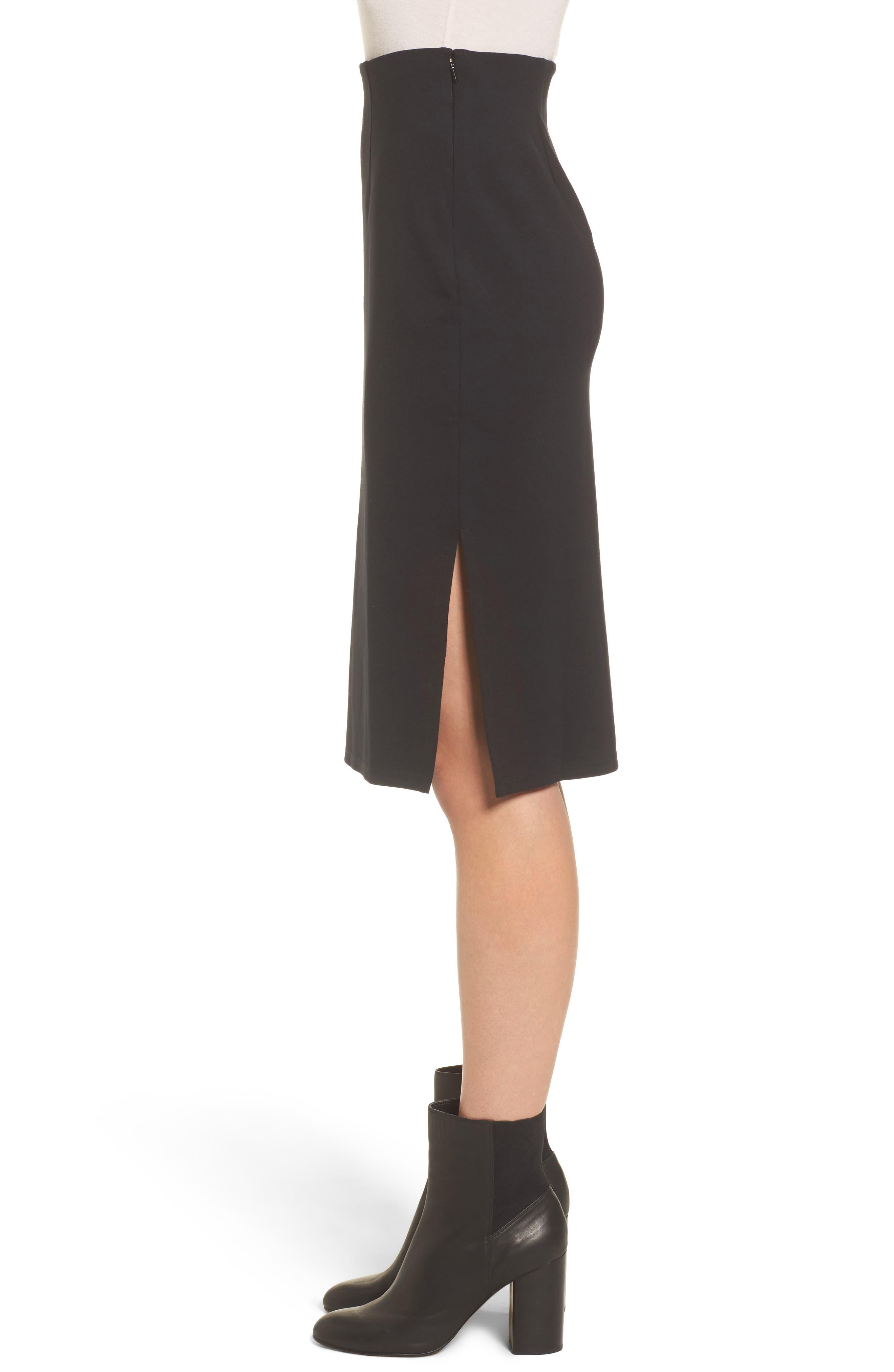 High Waist Knit Skirt,                             Alternate thumbnail 4, color,                             Black
