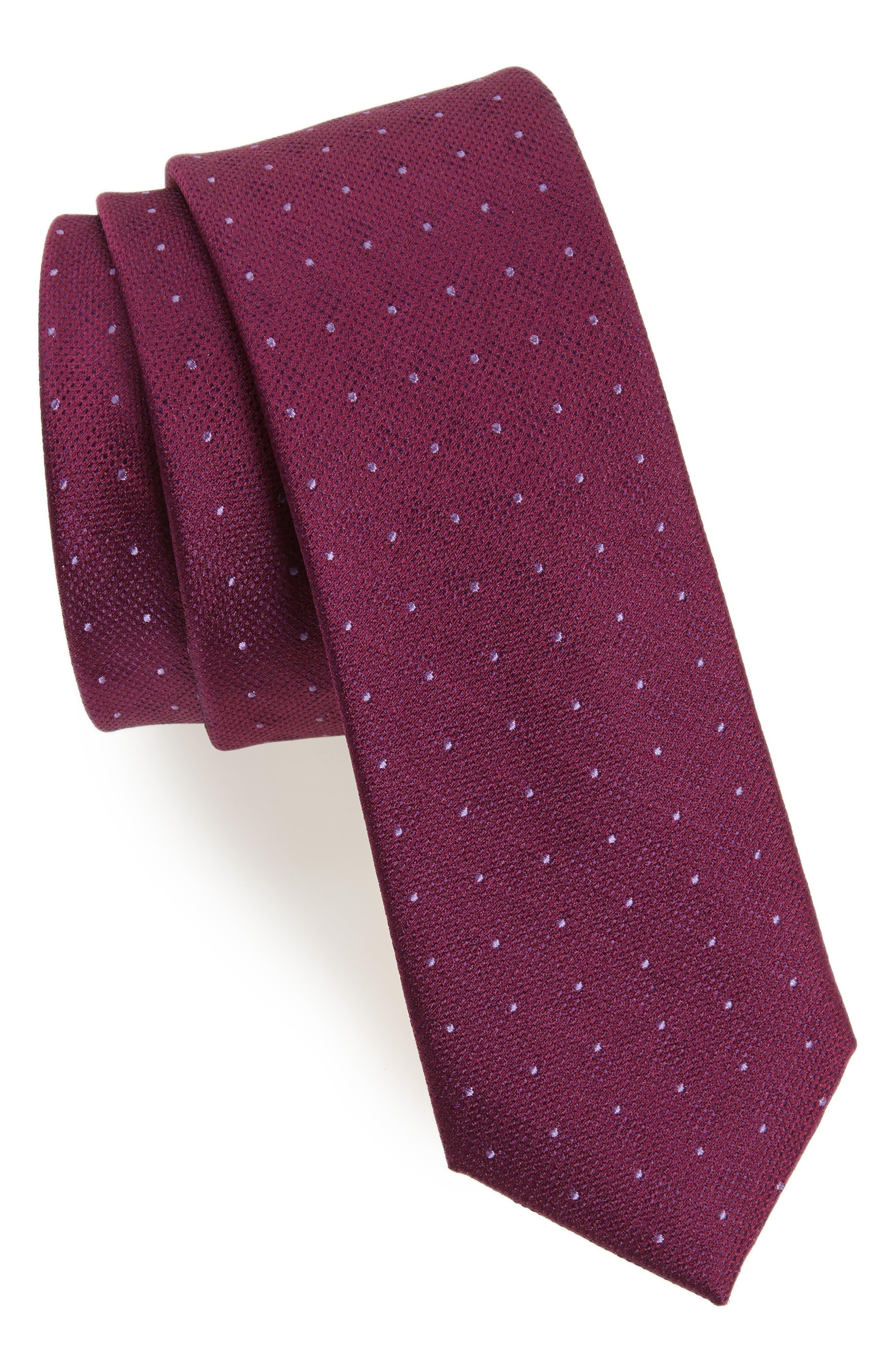 Pebble Dot Silk Tie,                             Main thumbnail 1, color,                             Berry