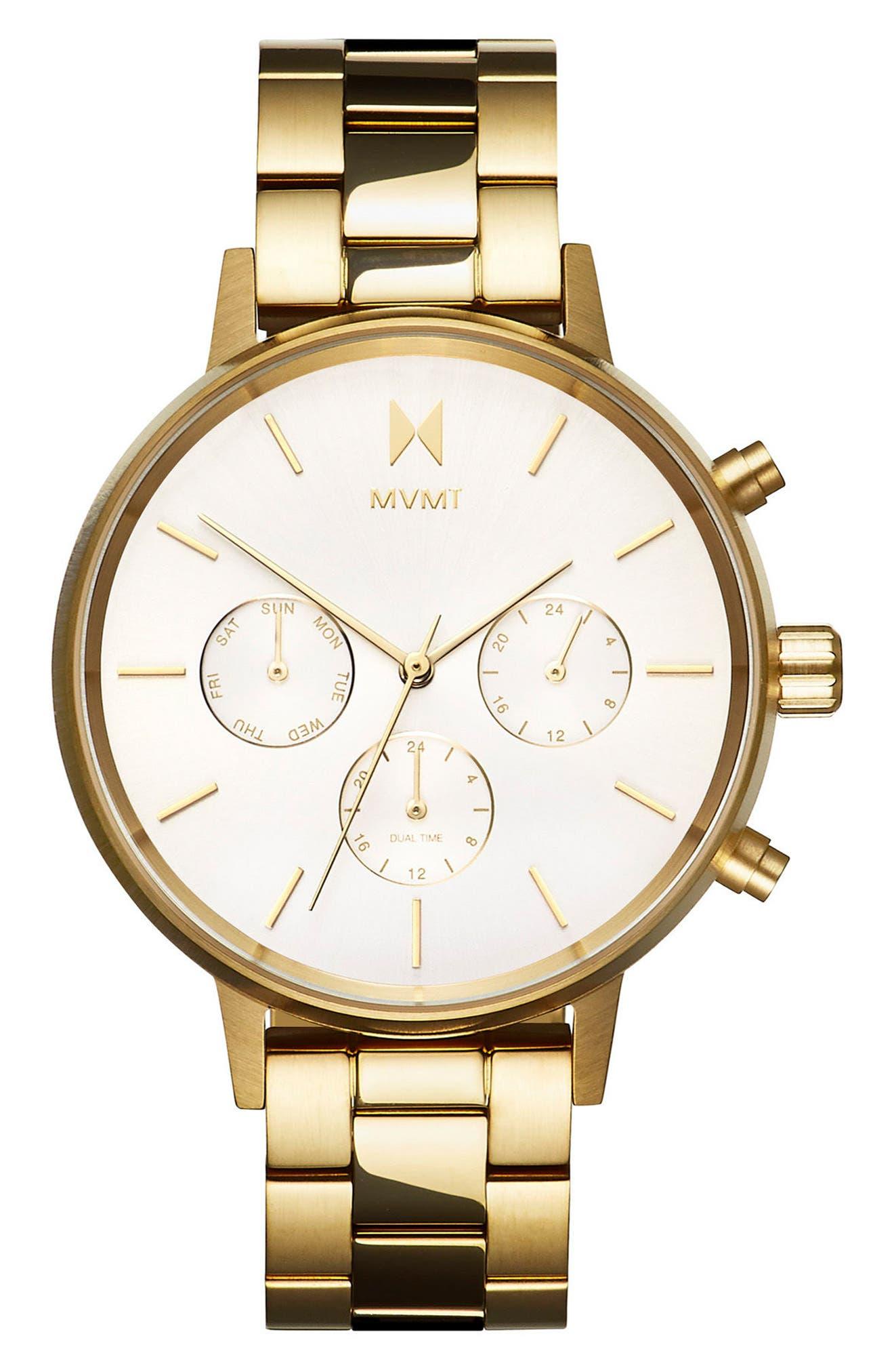 Nova Chronograph Bracelet Watch, 38mm,                             Main thumbnail 1, color,                             Gold/ White/ Gold