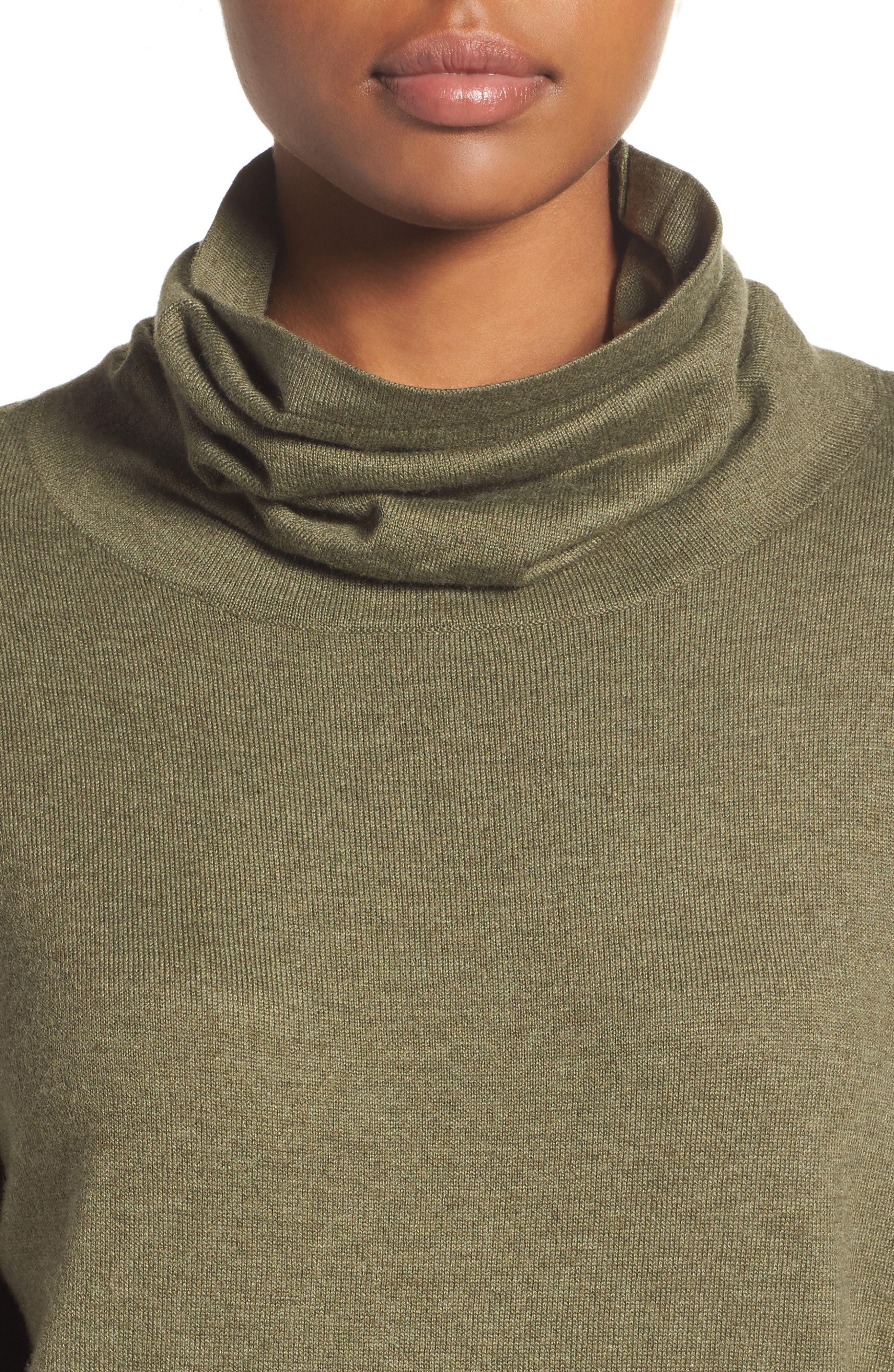 Woodland Tunic Sweater,                             Alternate thumbnail 4, color,                             Burnt Olive Green Heather