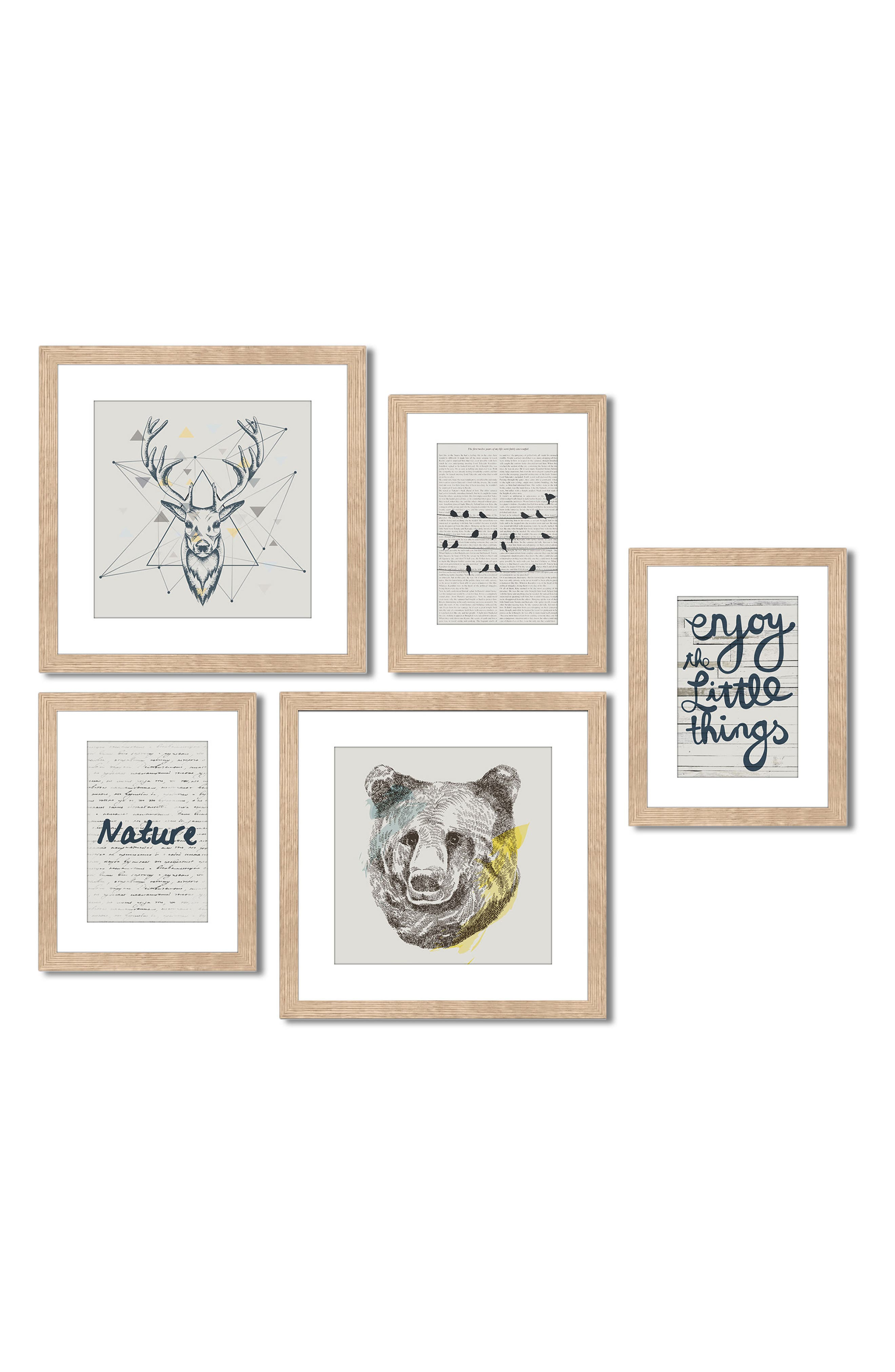 5-Piece Framed Wall Art Gallery,                         Main,                         color, Enjoy The Little Things