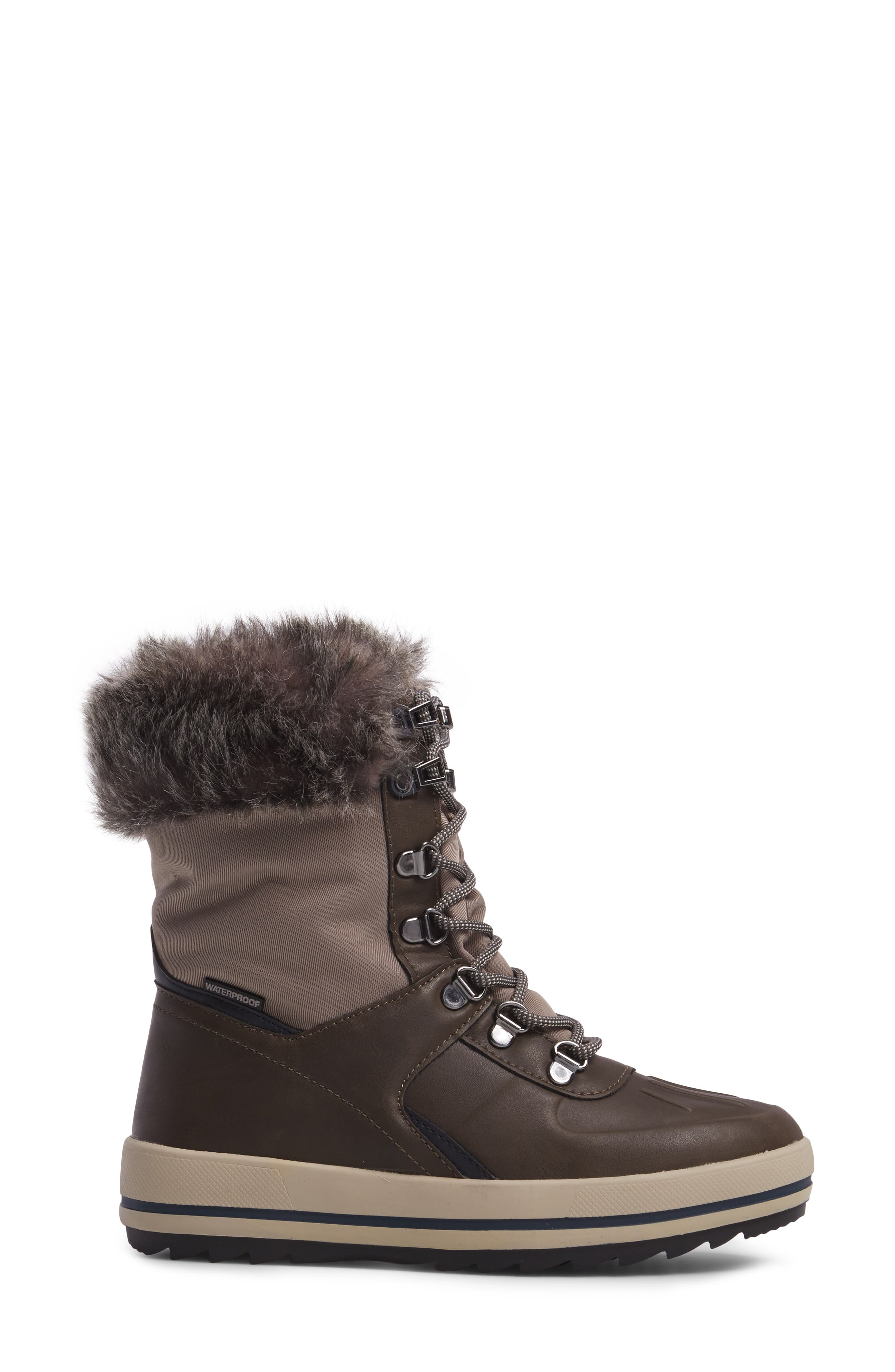 Viper Waterproof Snow Boot with Faux Fur Trim,                             Alternate thumbnail 3, color,                             Taupe/ Oatmeal
