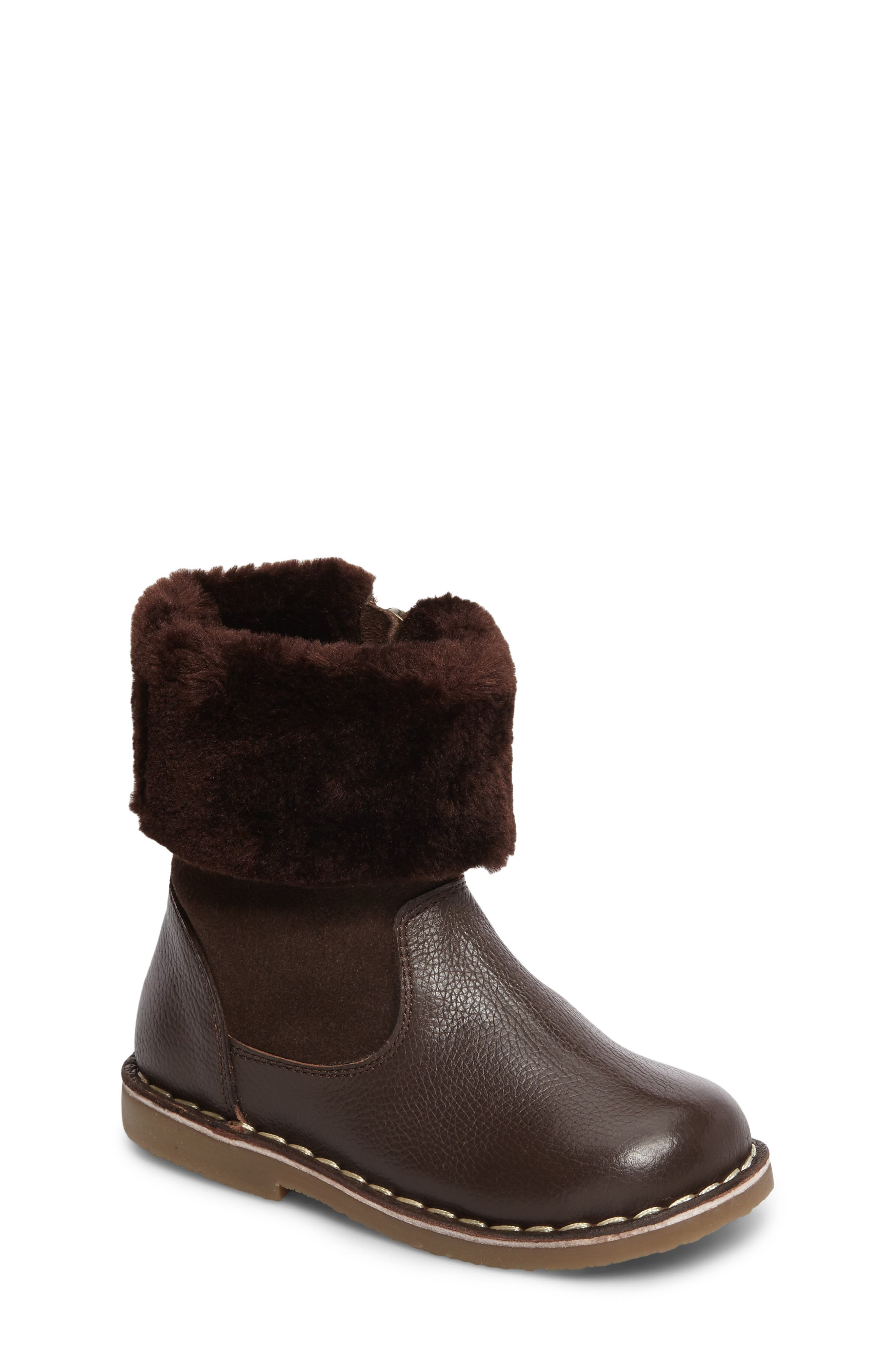 Faux Fur Cuffed Boot,                         Main,                         color, Chocolate Brown