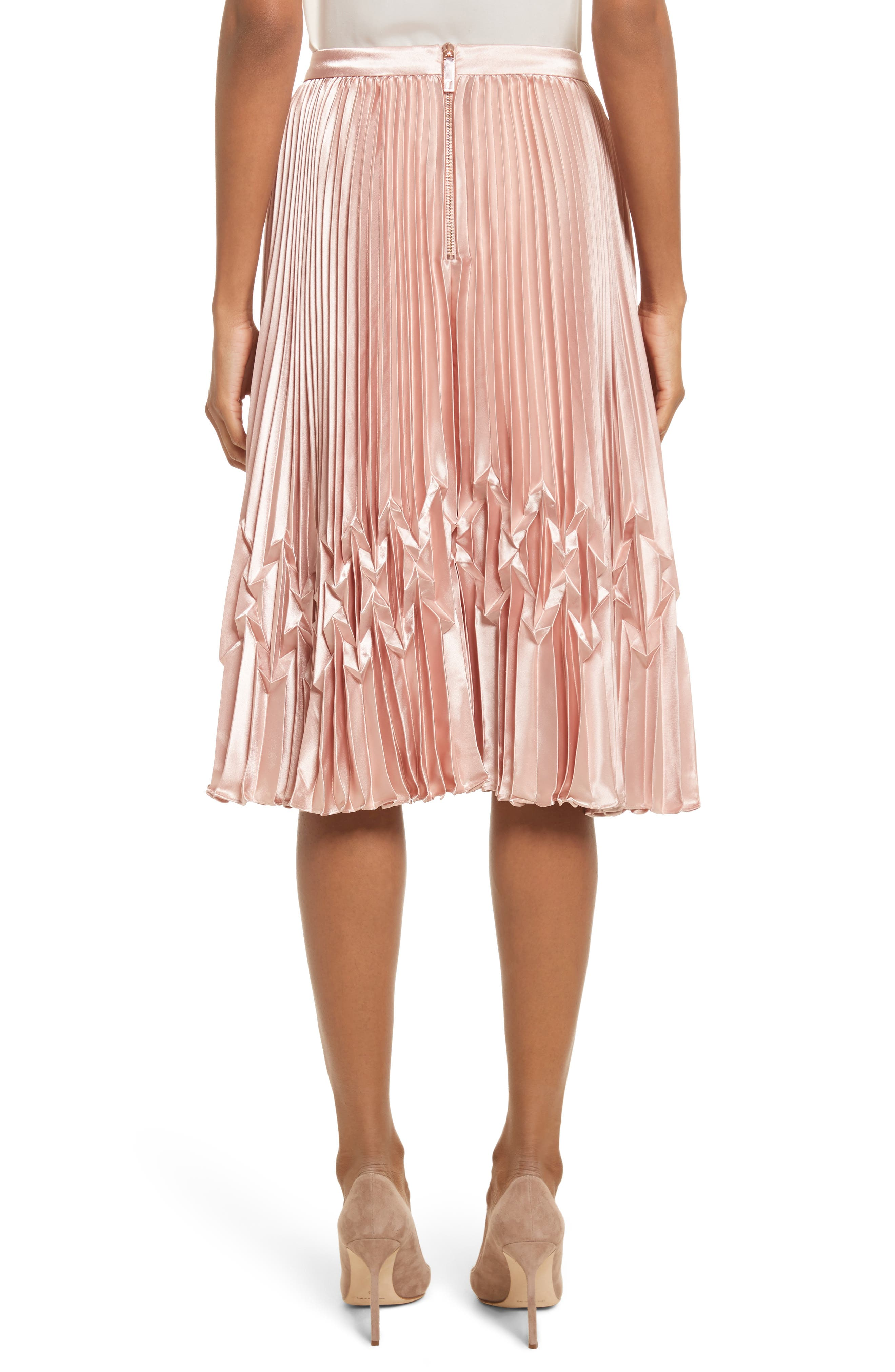 Zigzag Detail Pleated Midi Skirt,                             Alternate thumbnail 2, color,                             Rose Gold
