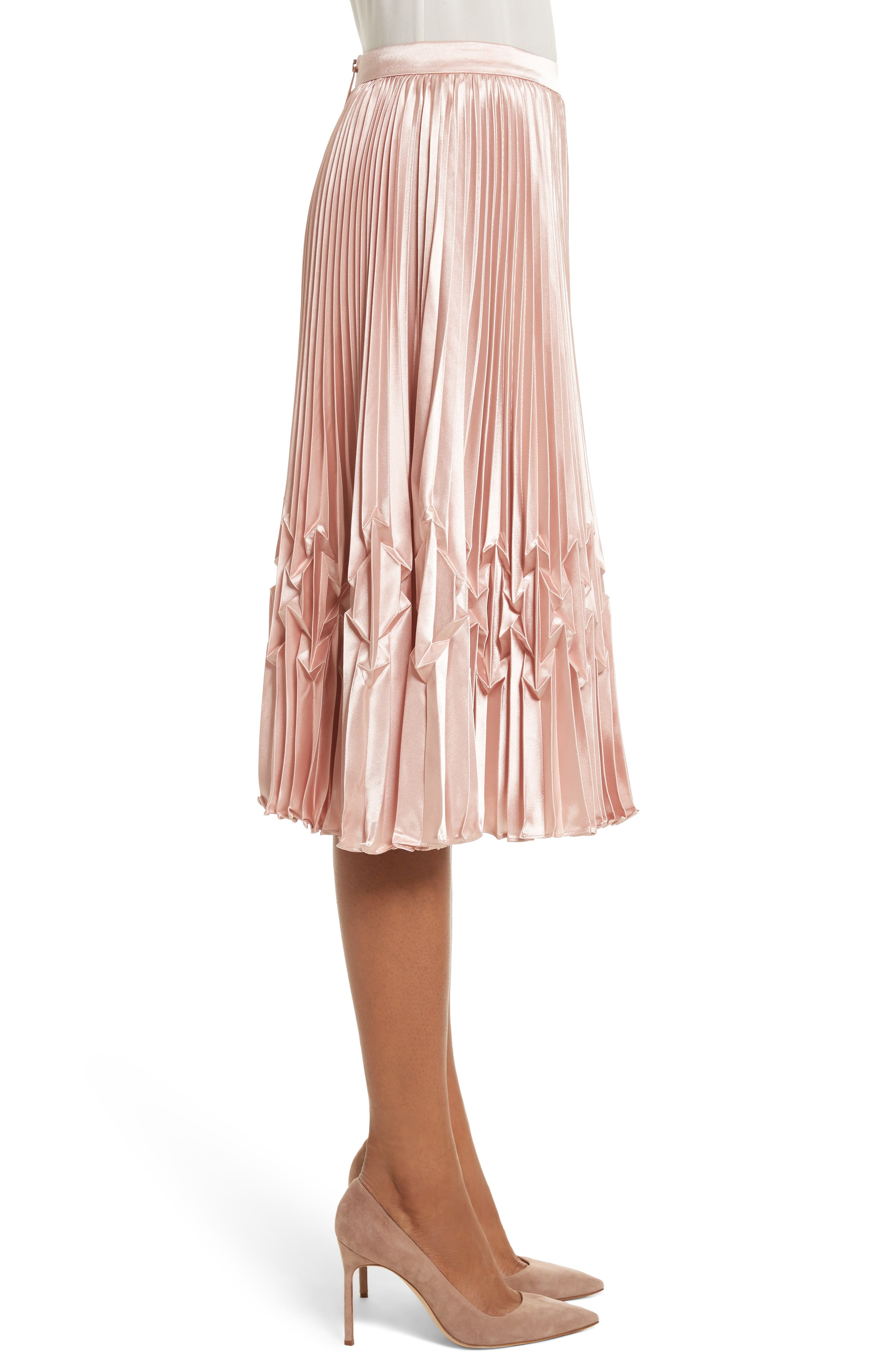 Zigzag Detail Pleated Midi Skirt,                             Alternate thumbnail 3, color,                             Rose Gold