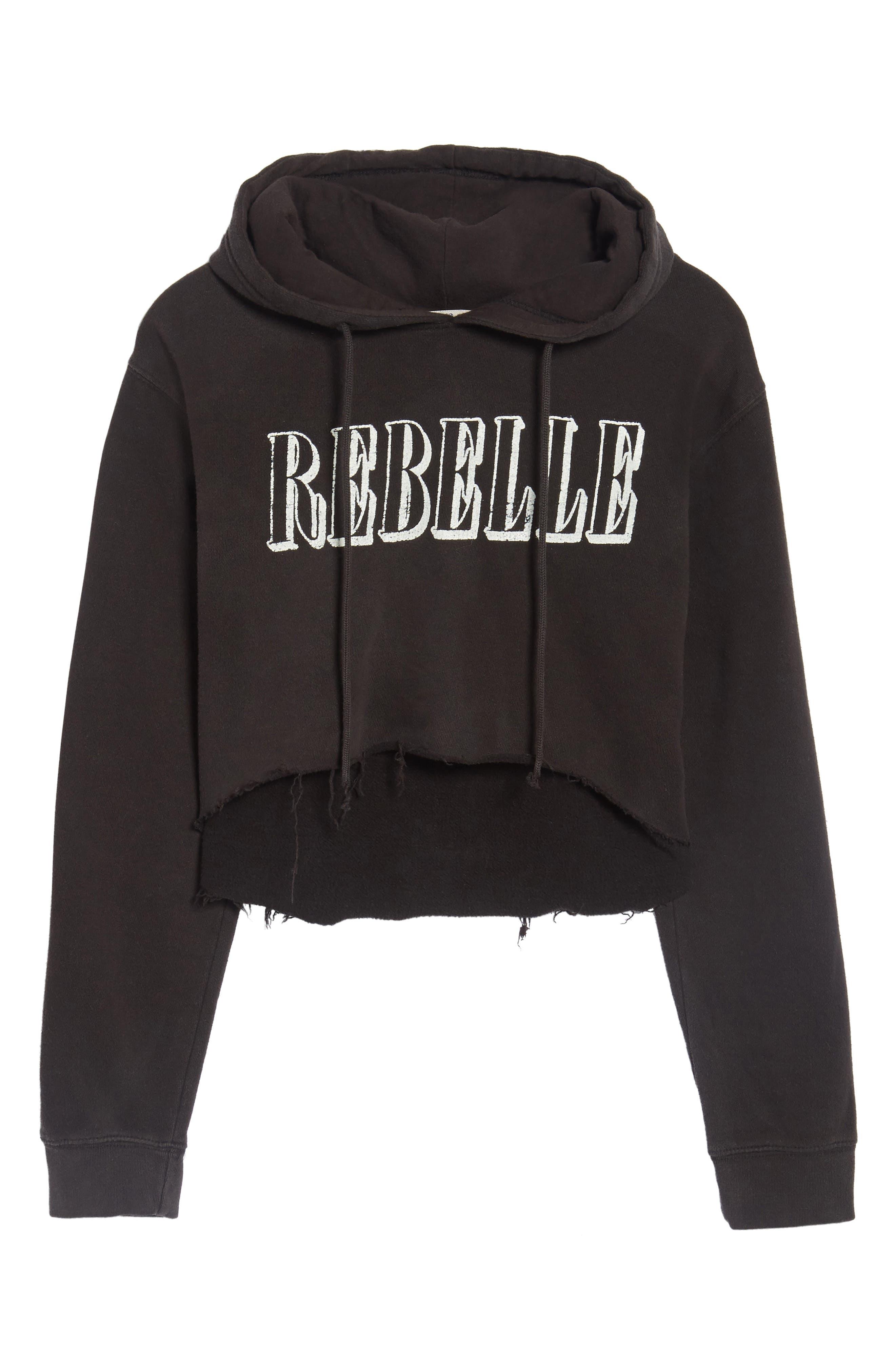 Rebelle Crop Hoodie,                             Alternate thumbnail 6, color,                             Black