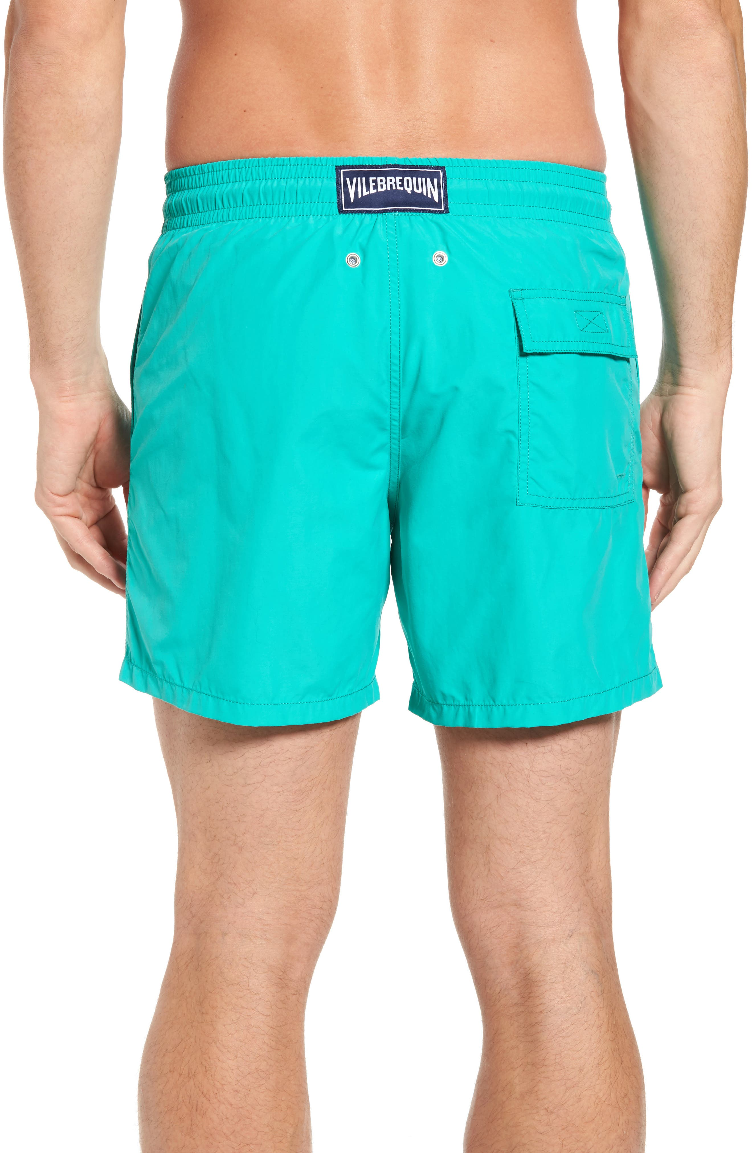 Sardine Water Reactive Swim Trunks,                             Alternate thumbnail 2, color,                             Veronese Green