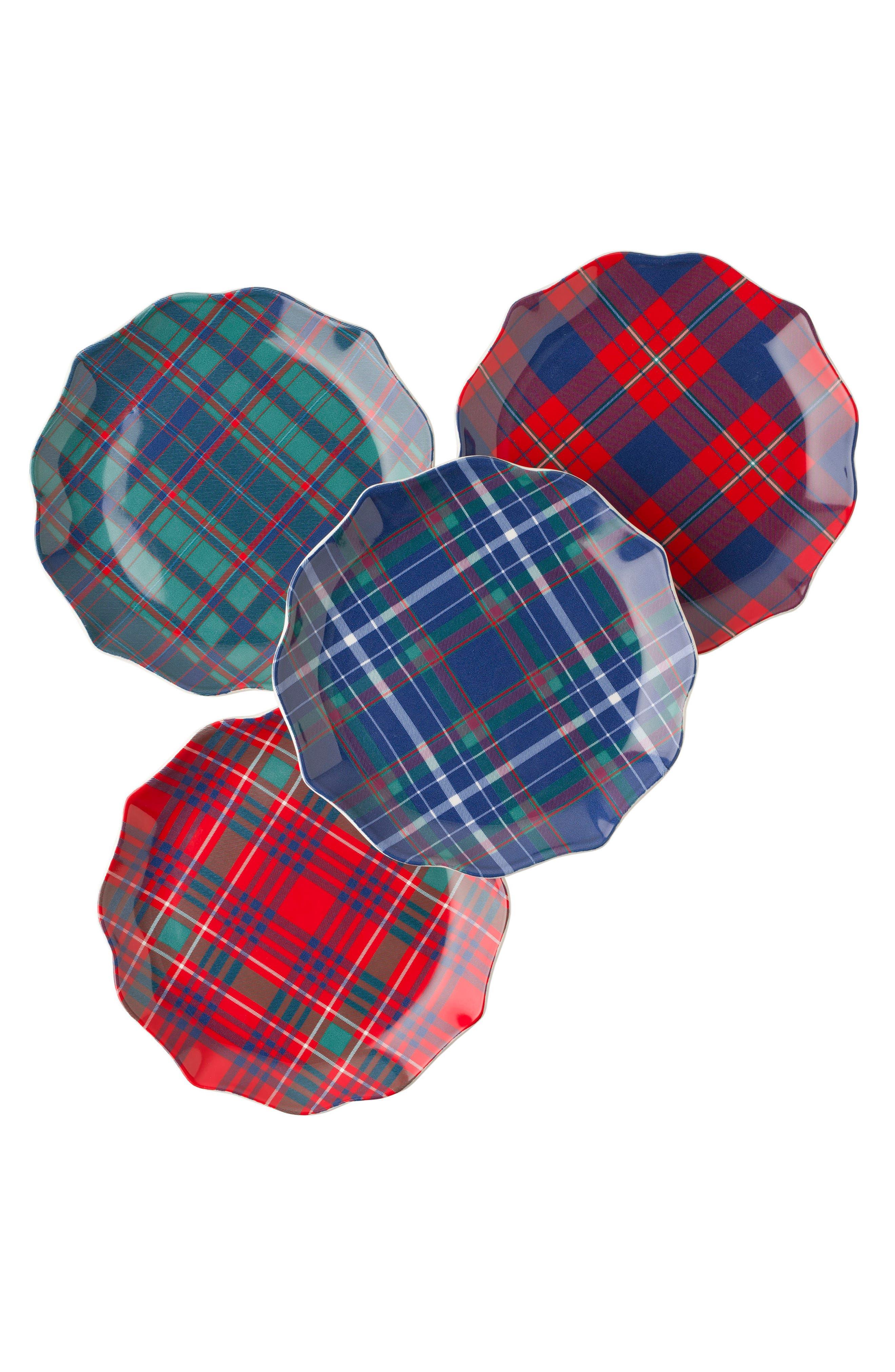 New Traditions - Tartan Tidbit Set of 4 Plates,                         Main,                         color, Multi
