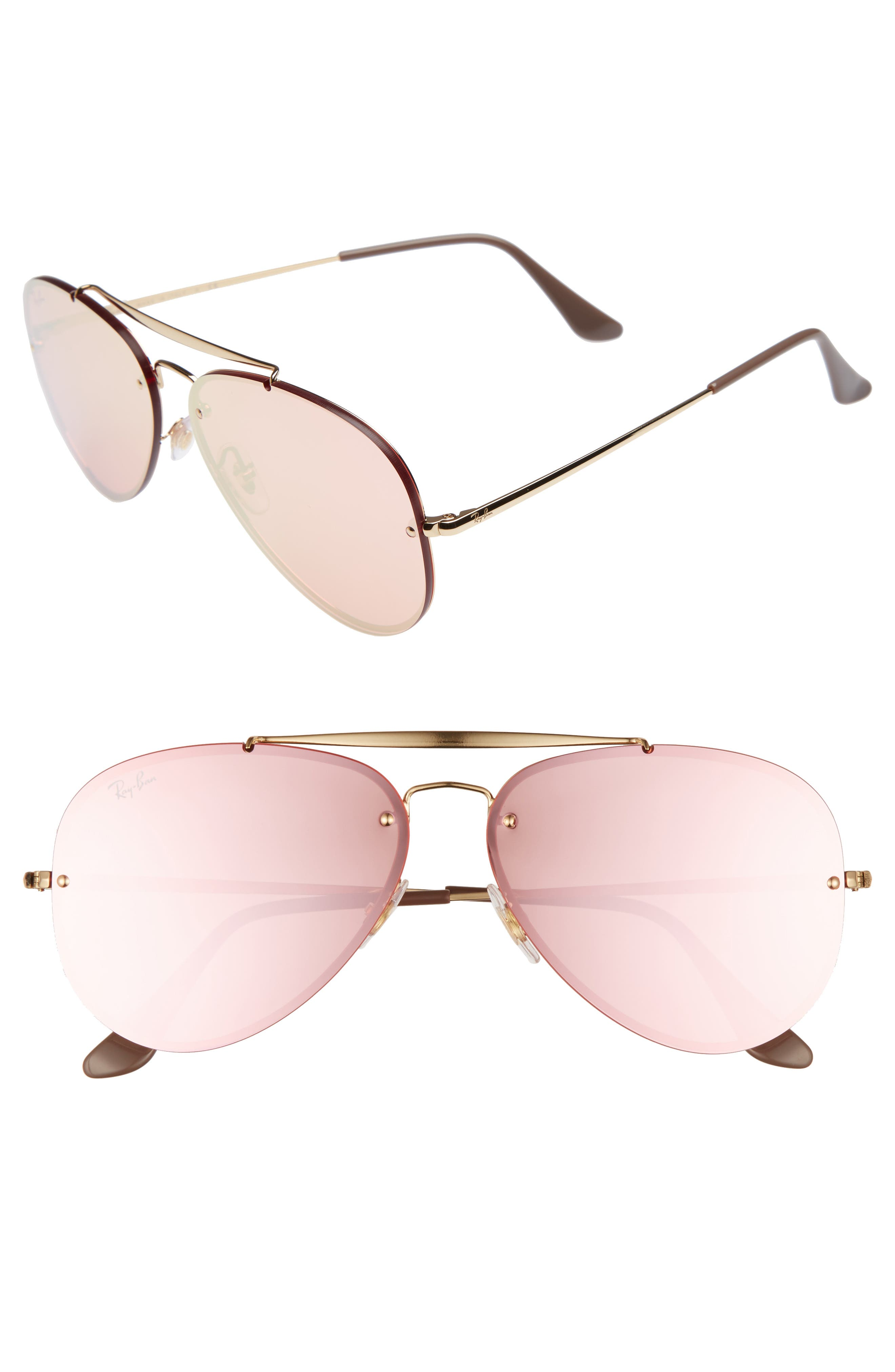 61mm Mirrored Lens Aviator Sunglasses,                         Main,                         color, Gold Pink