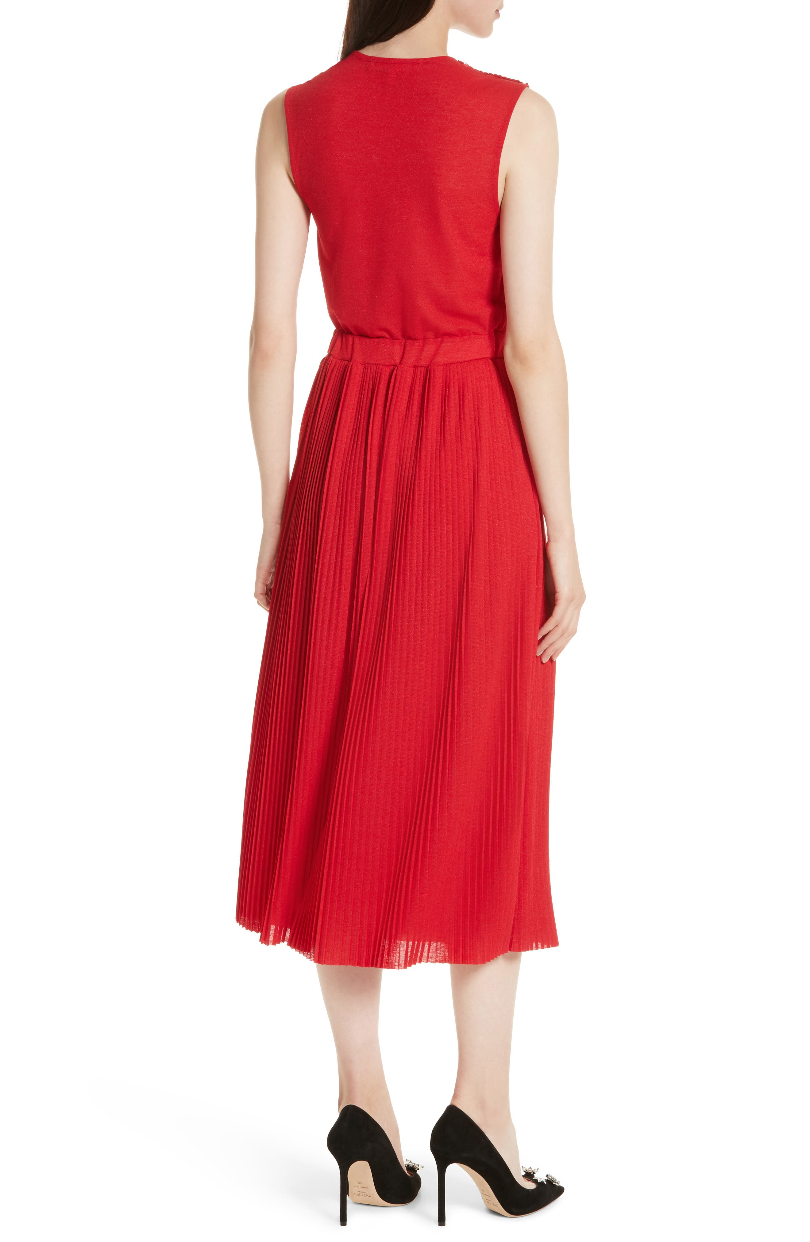 Surplice Fit & Flare Dress,                             Alternate thumbnail 2, color,                             Red Lacquer