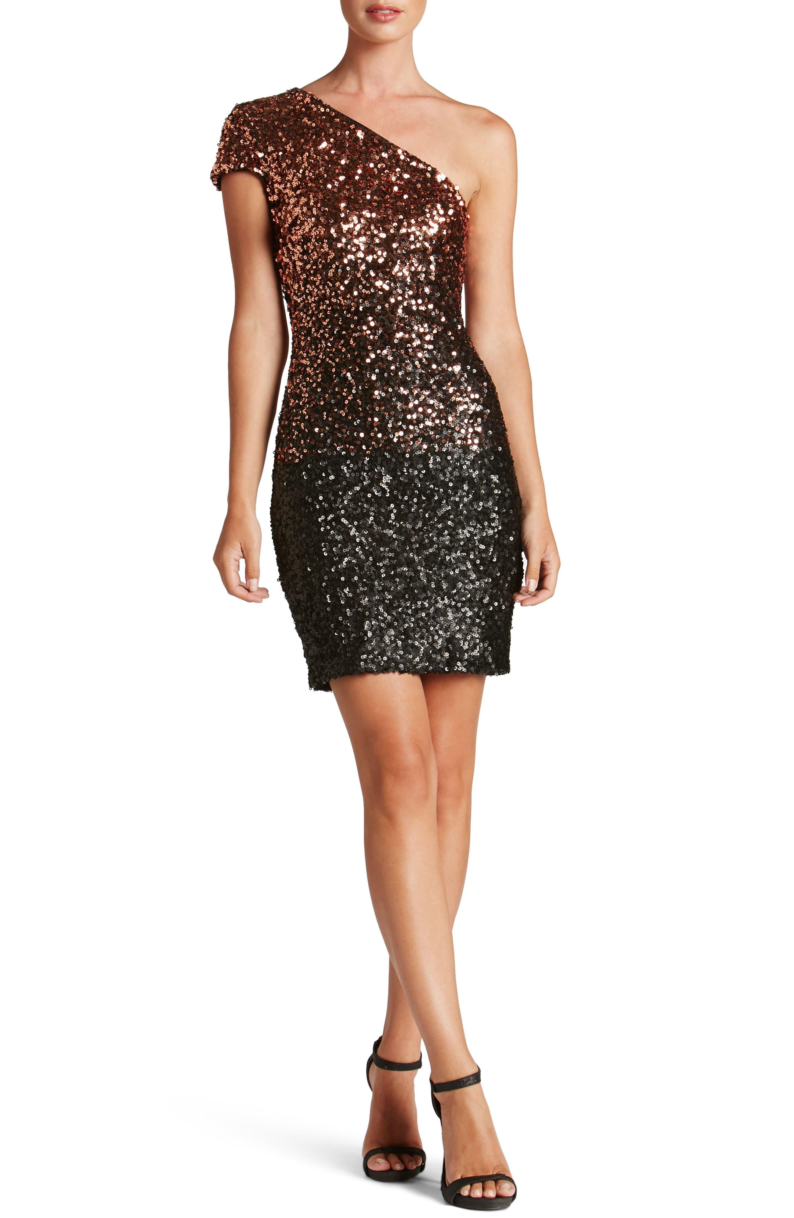 Debbie Ombré Sequin One-Shoulder Dress,                         Main,                         color, Copper/ Black