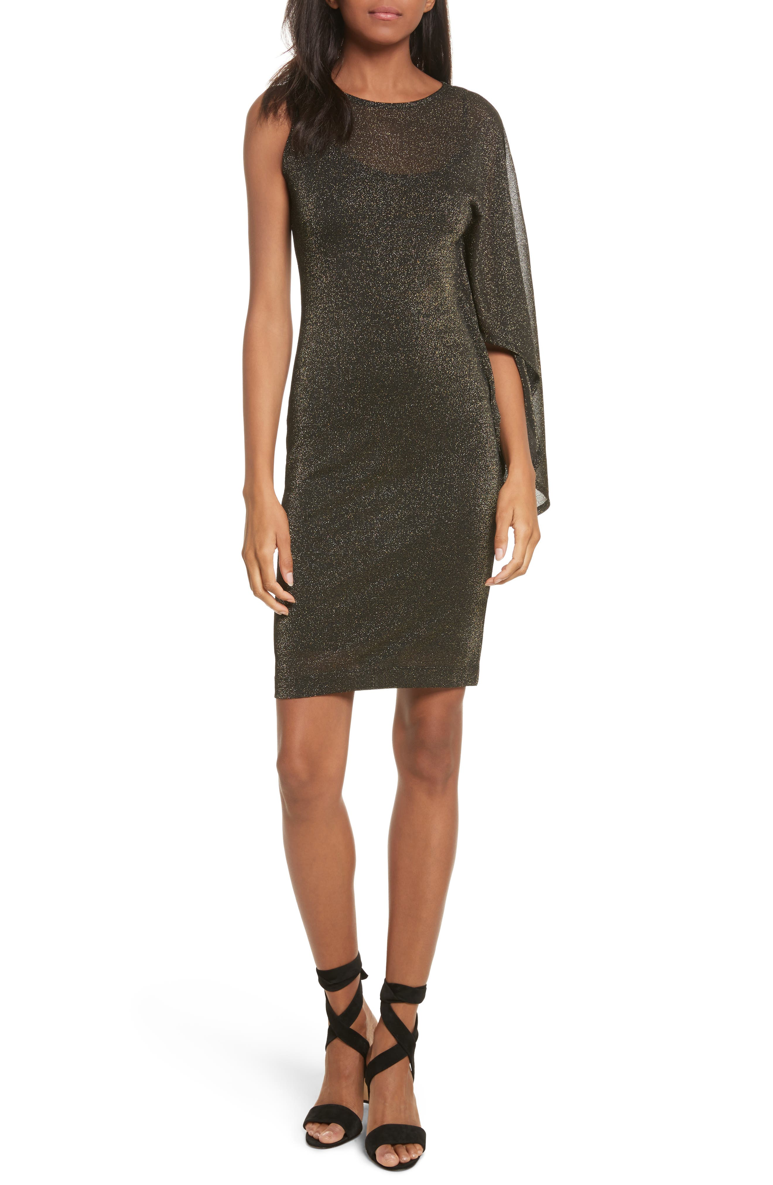 Draped One-Shoulder Dress,                         Main,                         color, Black