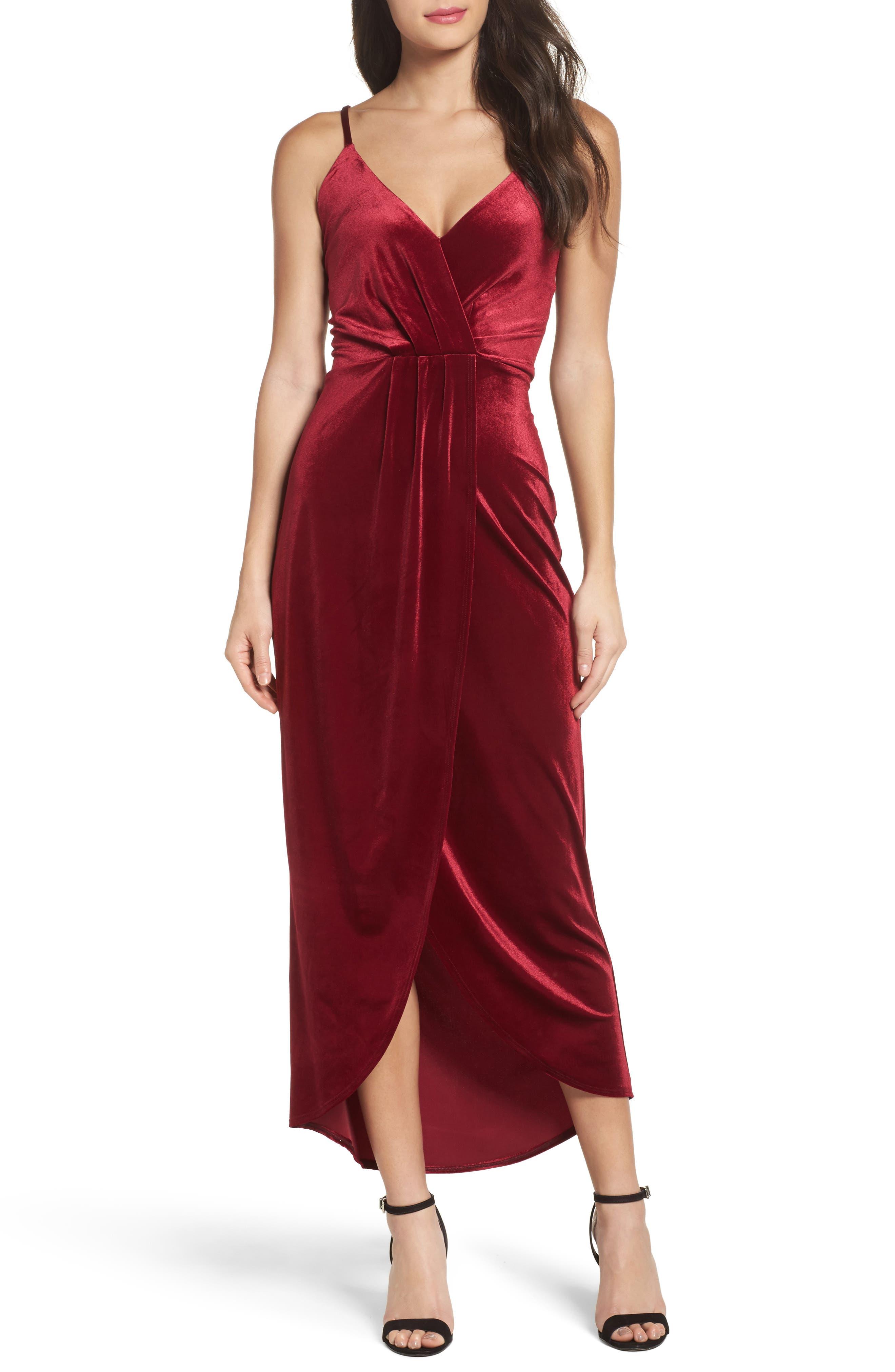 Velvet Slipdress,                         Main,                         color, Wine