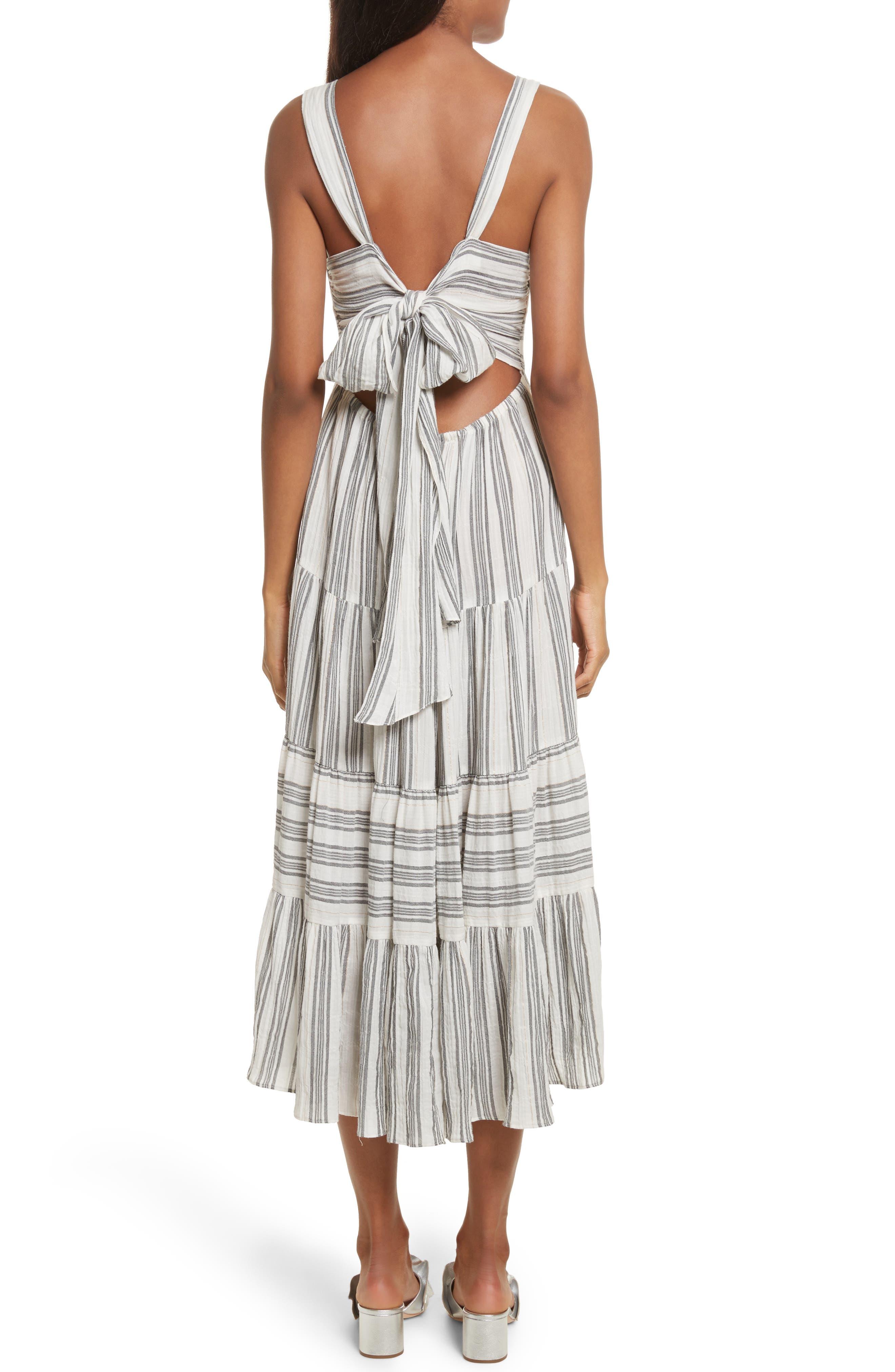 Sleeveless Gauzy Stripe Dress,                             Alternate thumbnail 2, color,                             Milk/ Washed Black Combo
