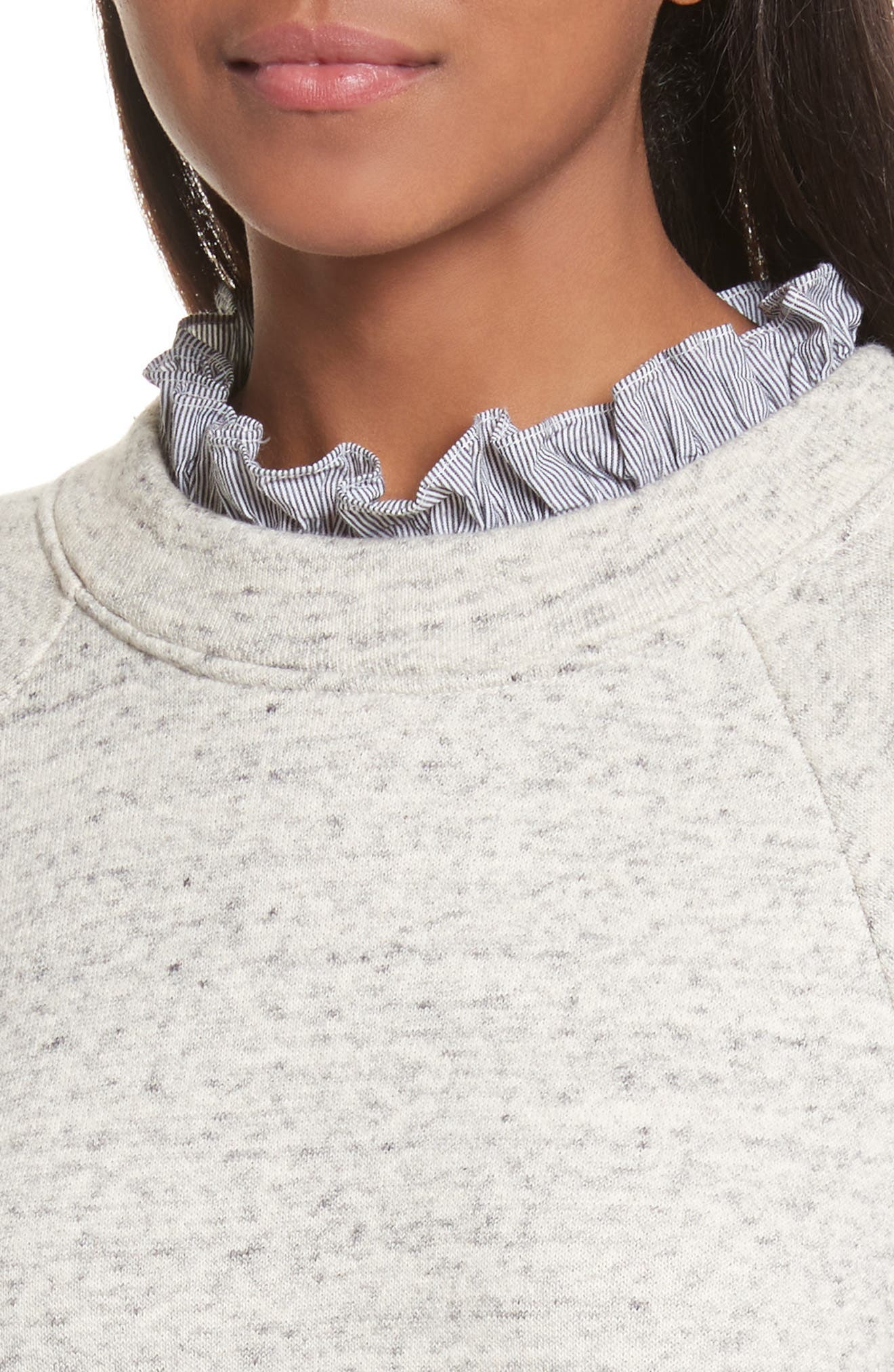 French Terry & Poplin Pullover,                             Alternate thumbnail 4, color,                             Grey Speckle