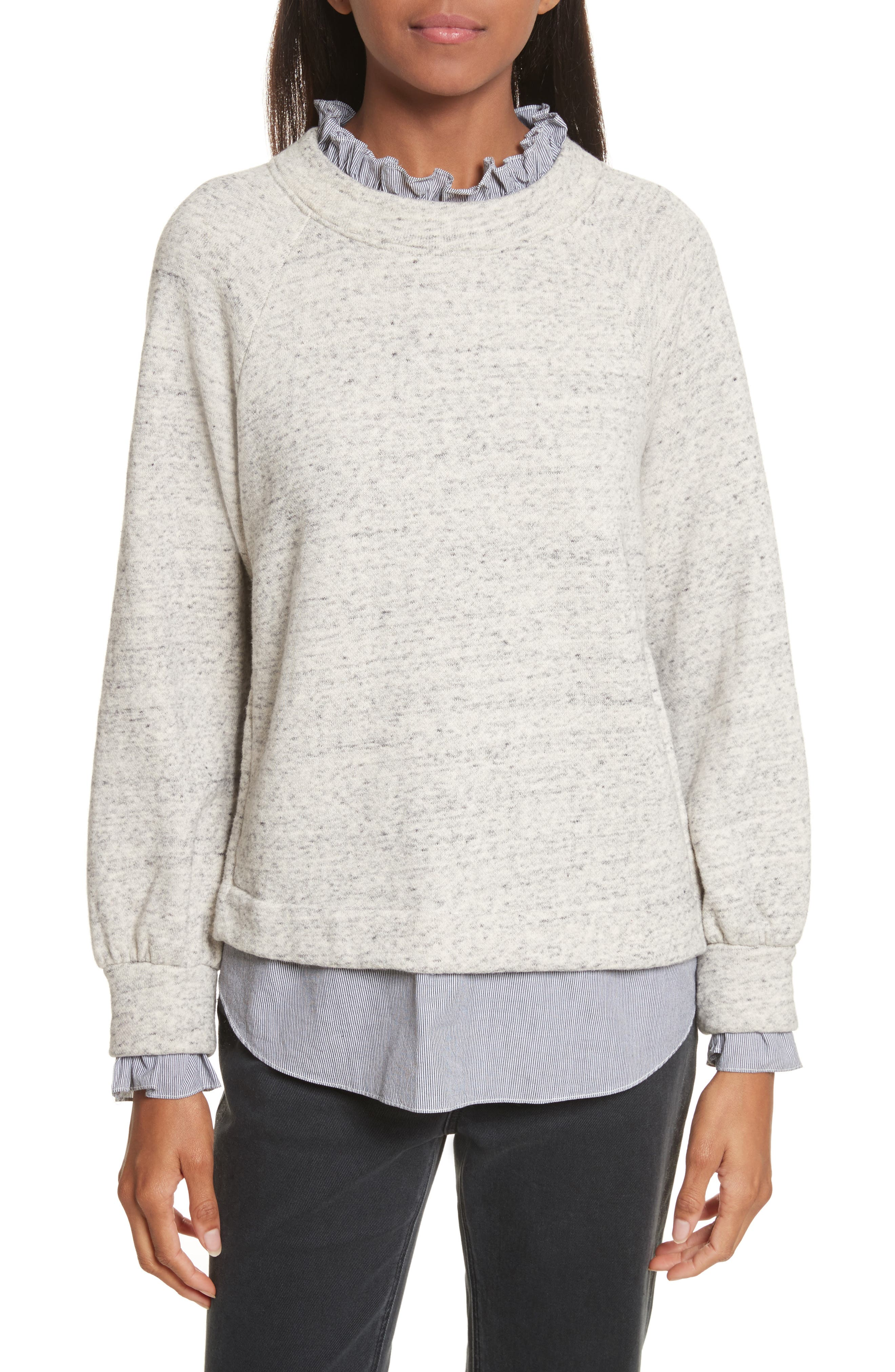 French Terry & Poplin Pullover,                         Main,                         color, Grey Speckle