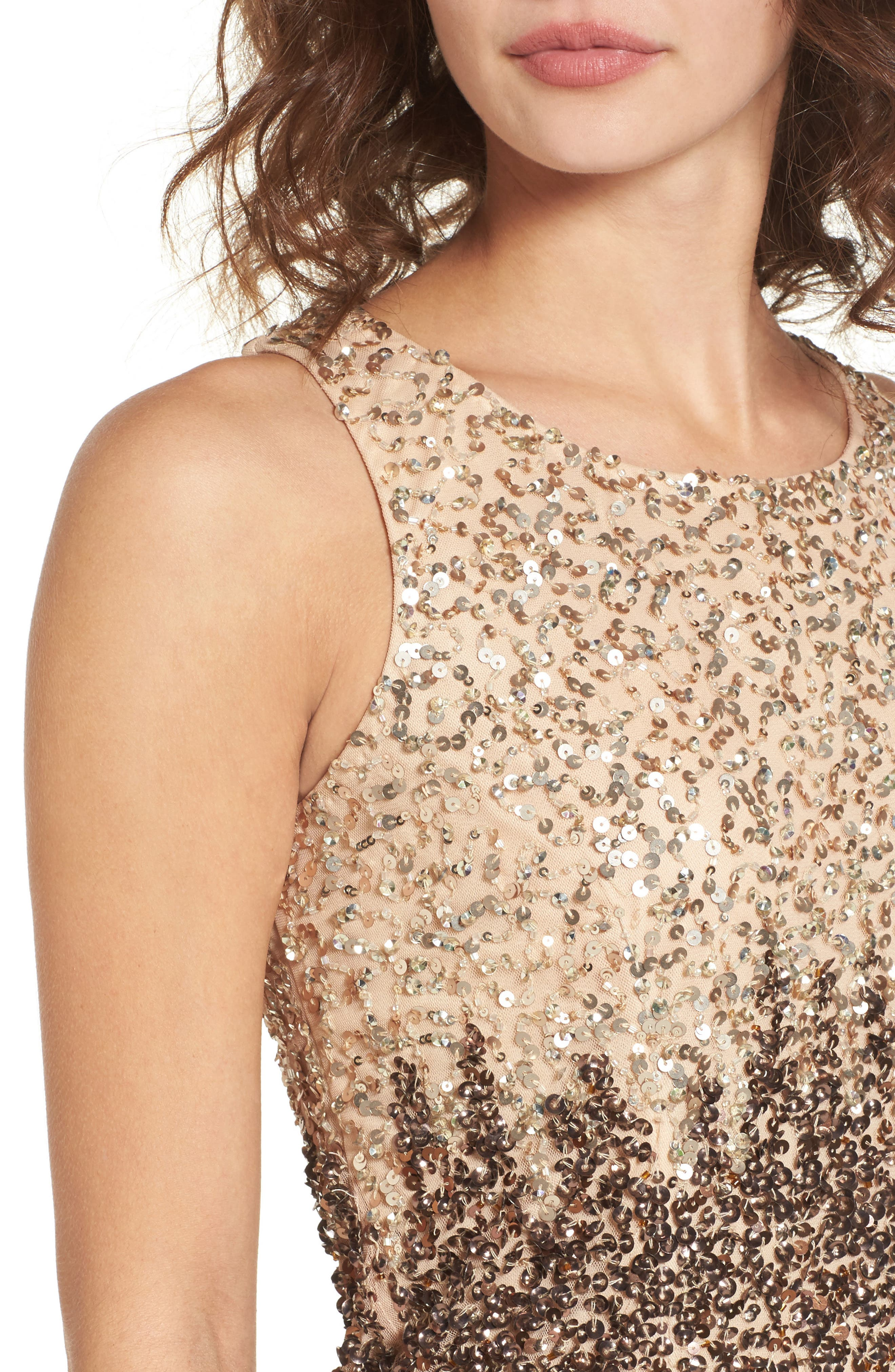 Sequins and Champagne Dress,                             Alternate thumbnail 4, color,                             Beige