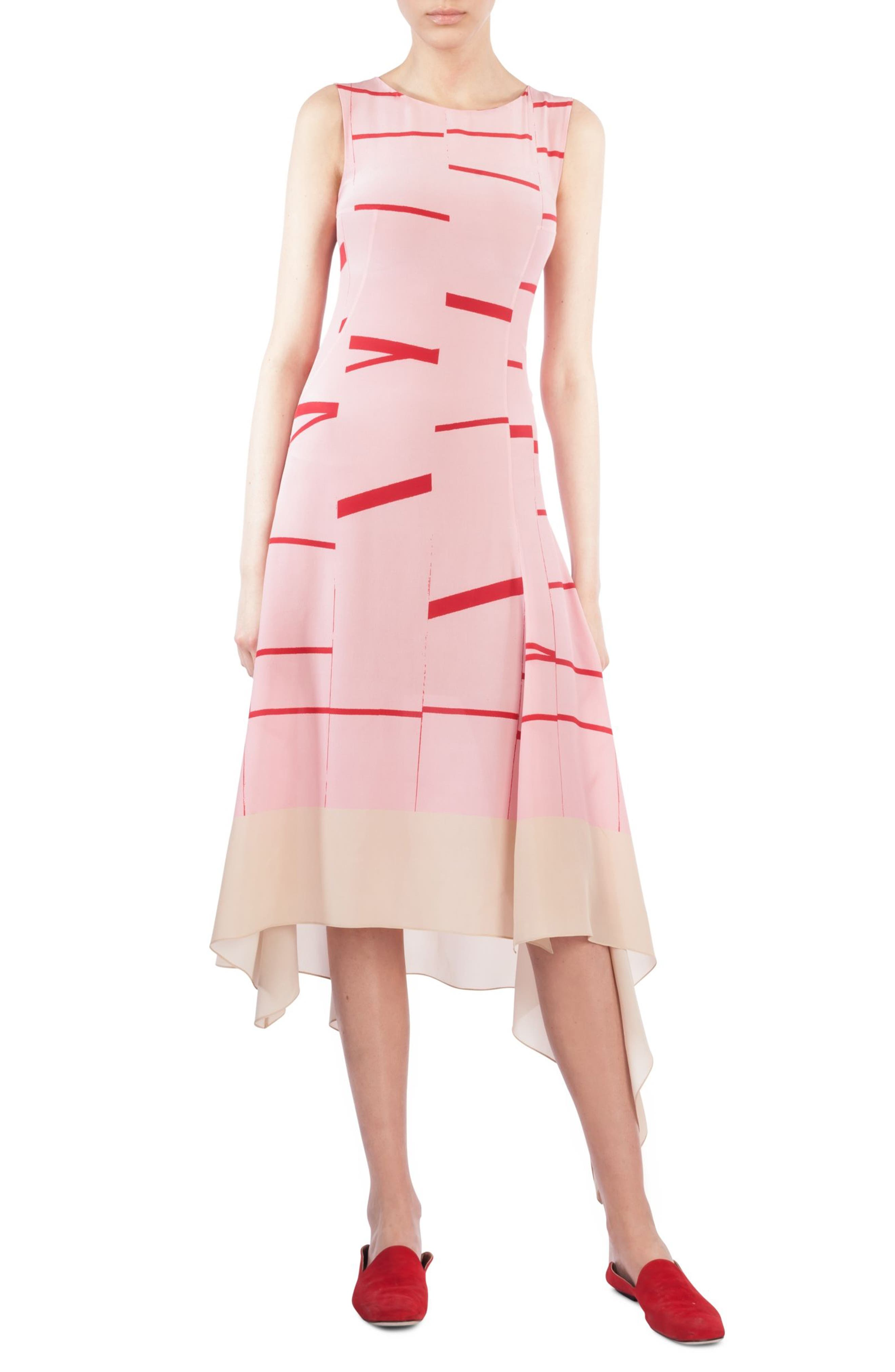 Akris Broken Stripe Silk Crepe Asymmetrical Dress