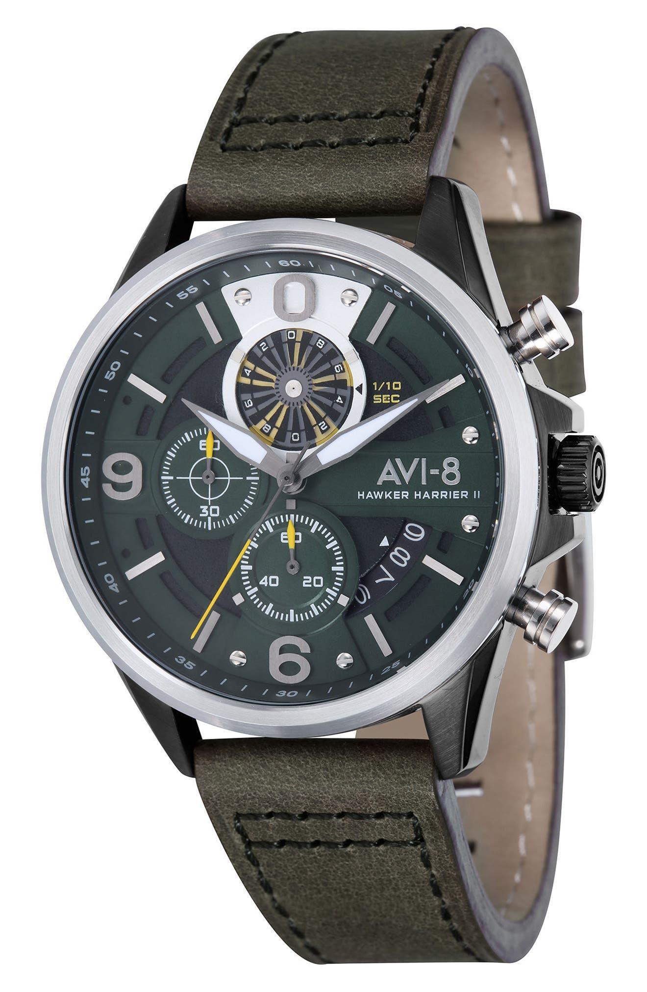 AVI-8 Hawker Harrier II Turbine Chronograph Leather Strap Watch, 45mm