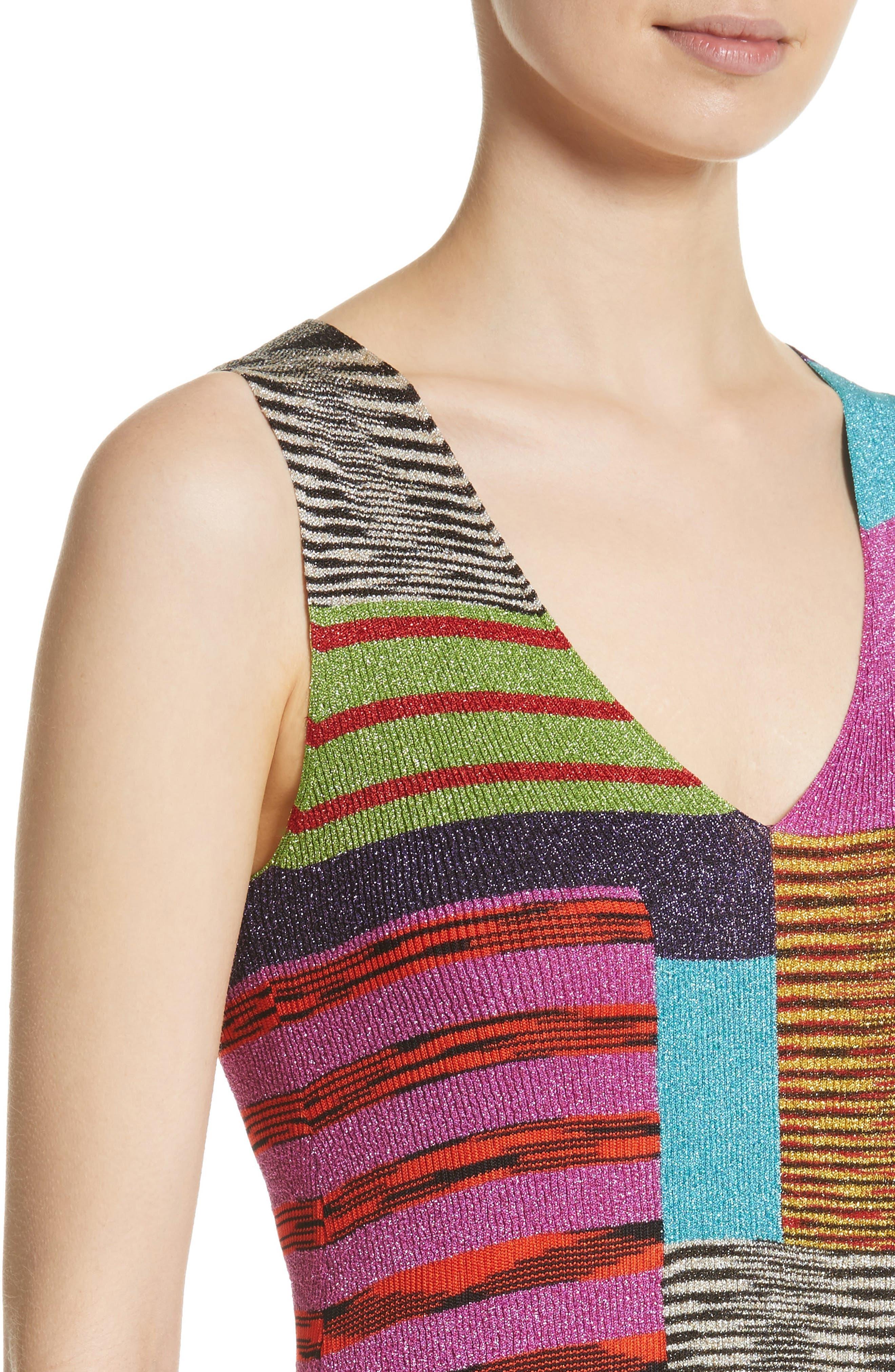 Metallic Patchwork Stripe Knit Dress,                             Alternate thumbnail 4, color,                             Multi